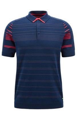 Gestreiftes Regular-Fit Poloshirt aus elastischem Baumwoll-Mix, Dunkelblau