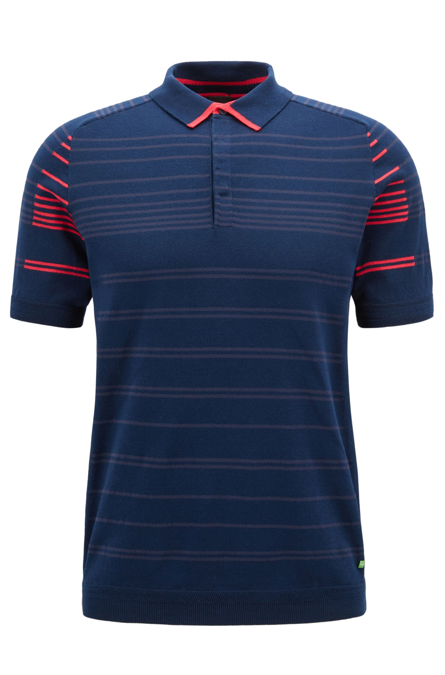 Regular-fit cotton-blend polo shirt with stripe