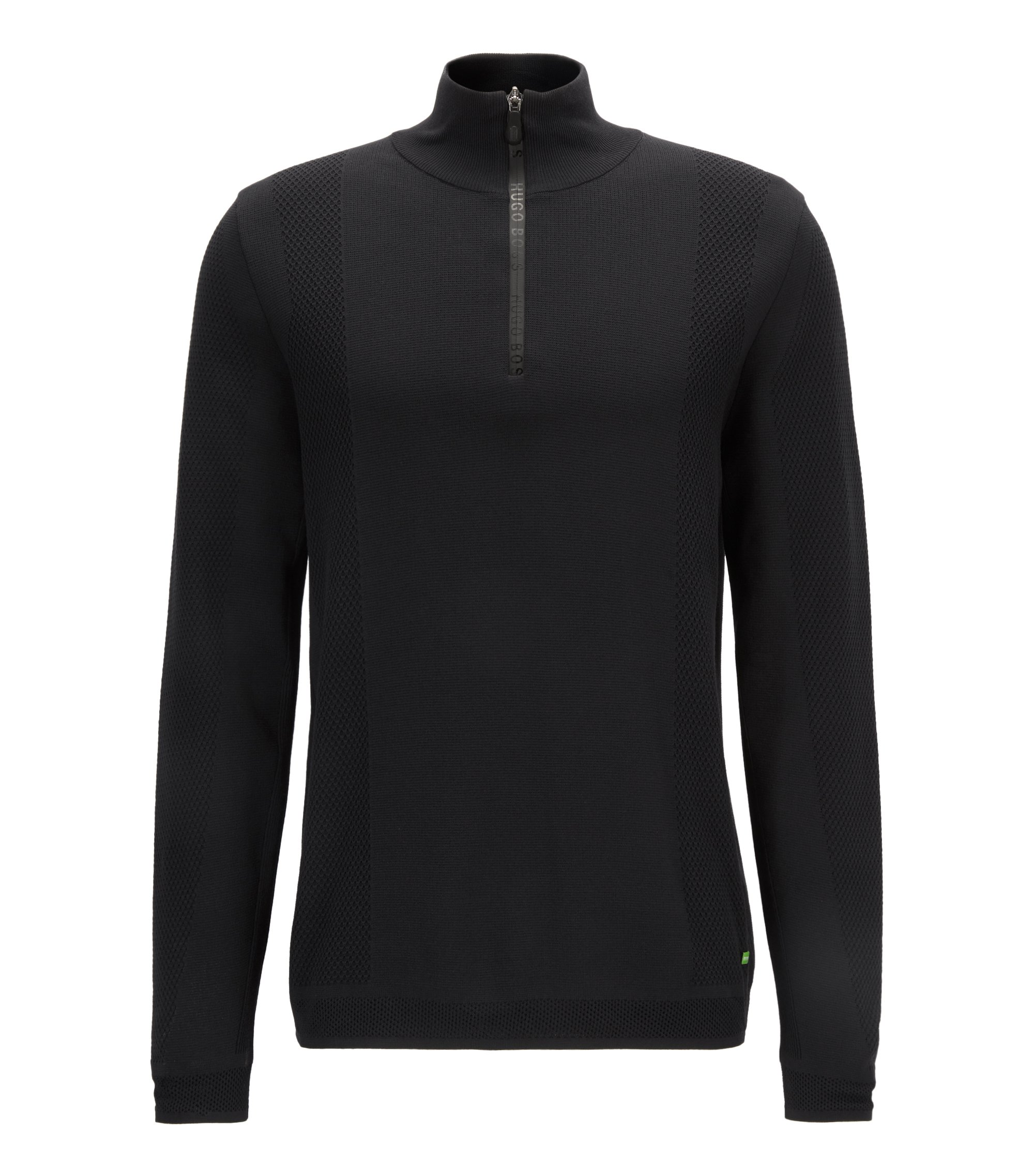 Zip-neck sweater in double-faced fabric, Black