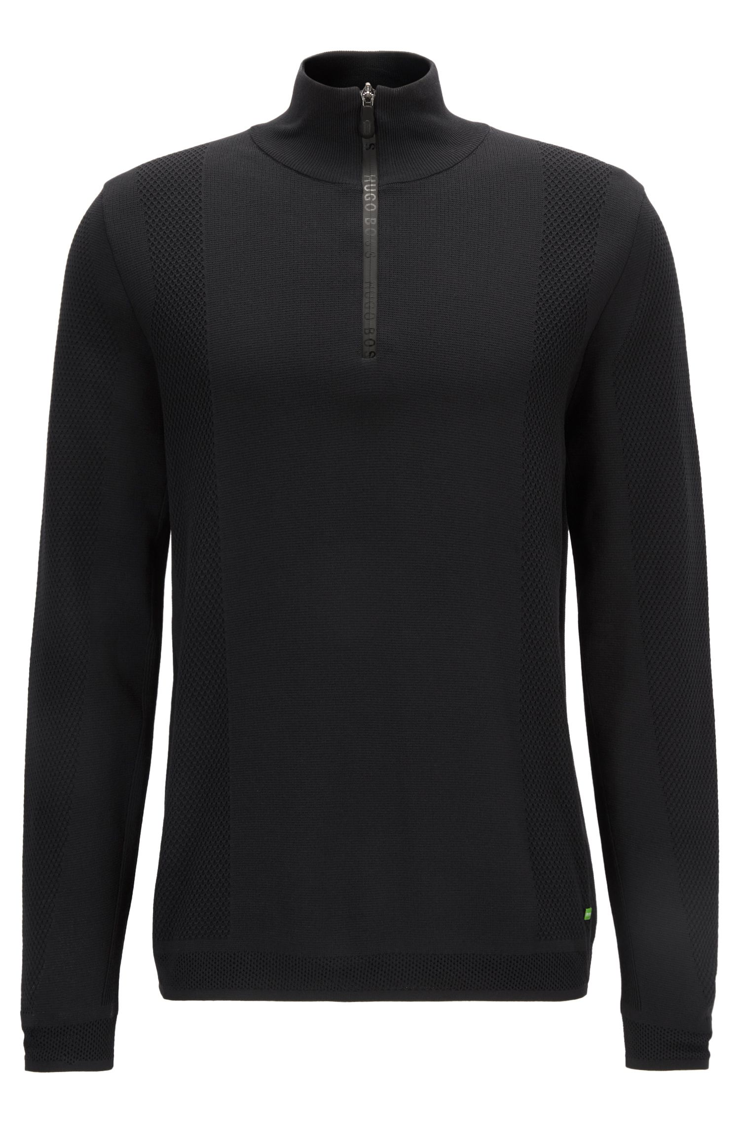 Zip-neck sweater in double-faced fabric