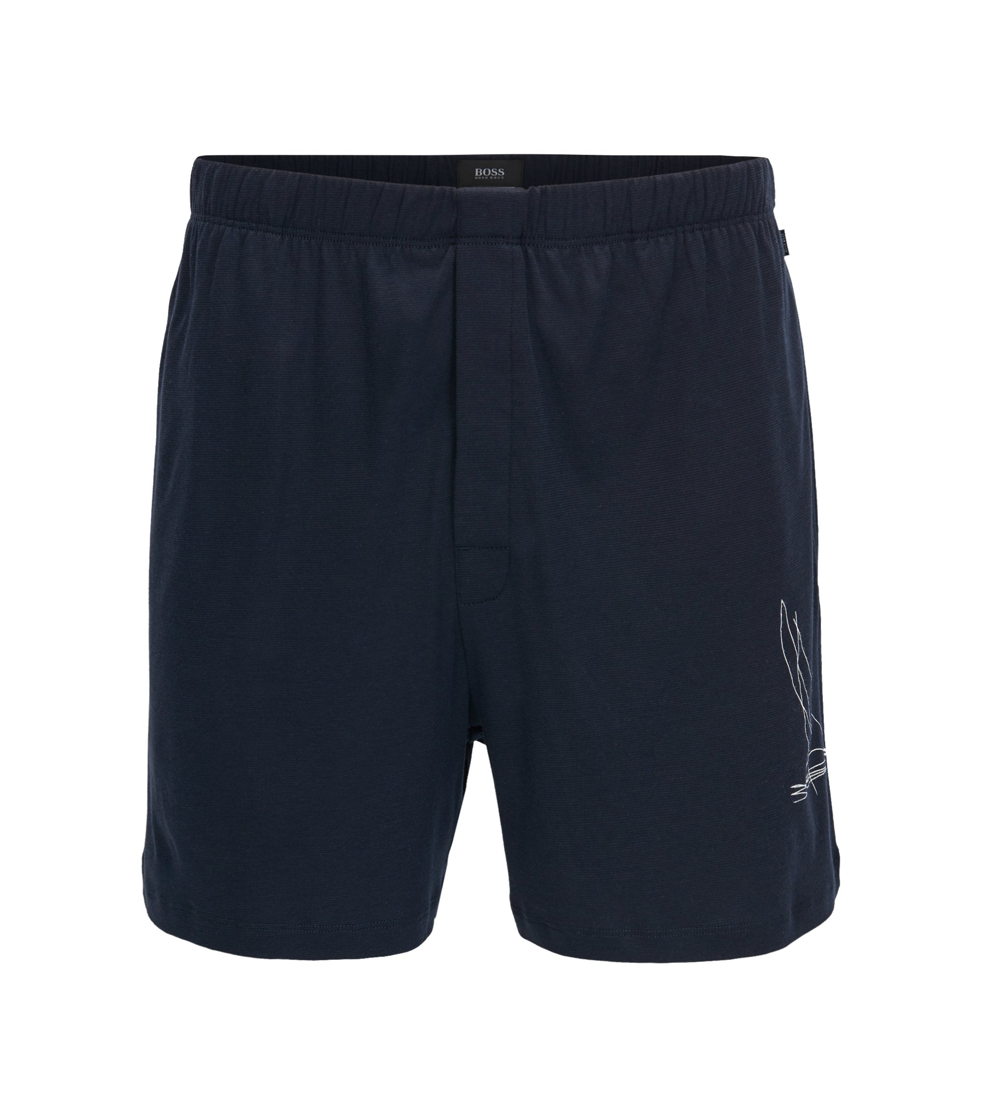 Nautical pyjama shorts in single jersey, Dark Blue