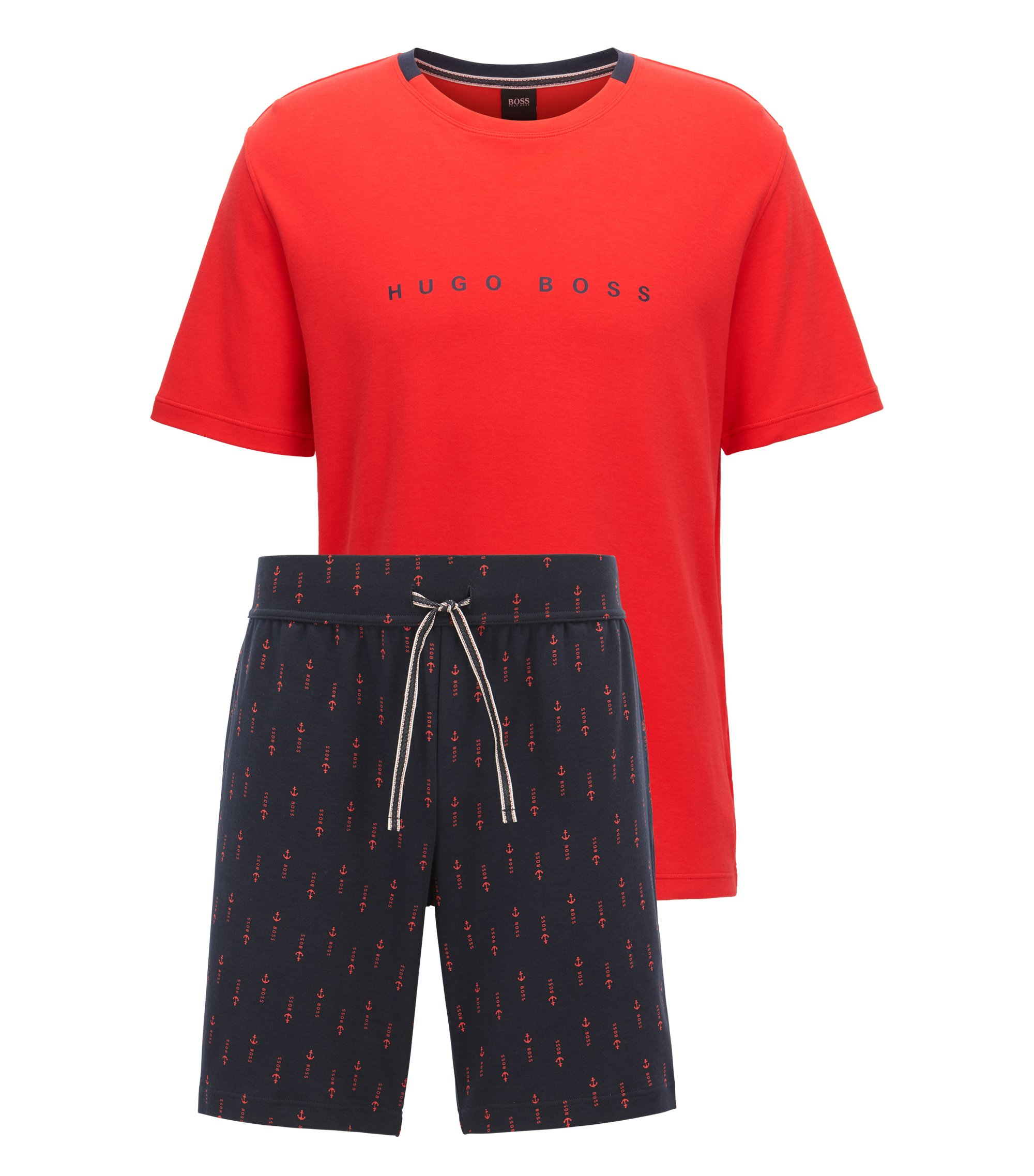 Pure-cotton pyjama set with logo detail, Open Red