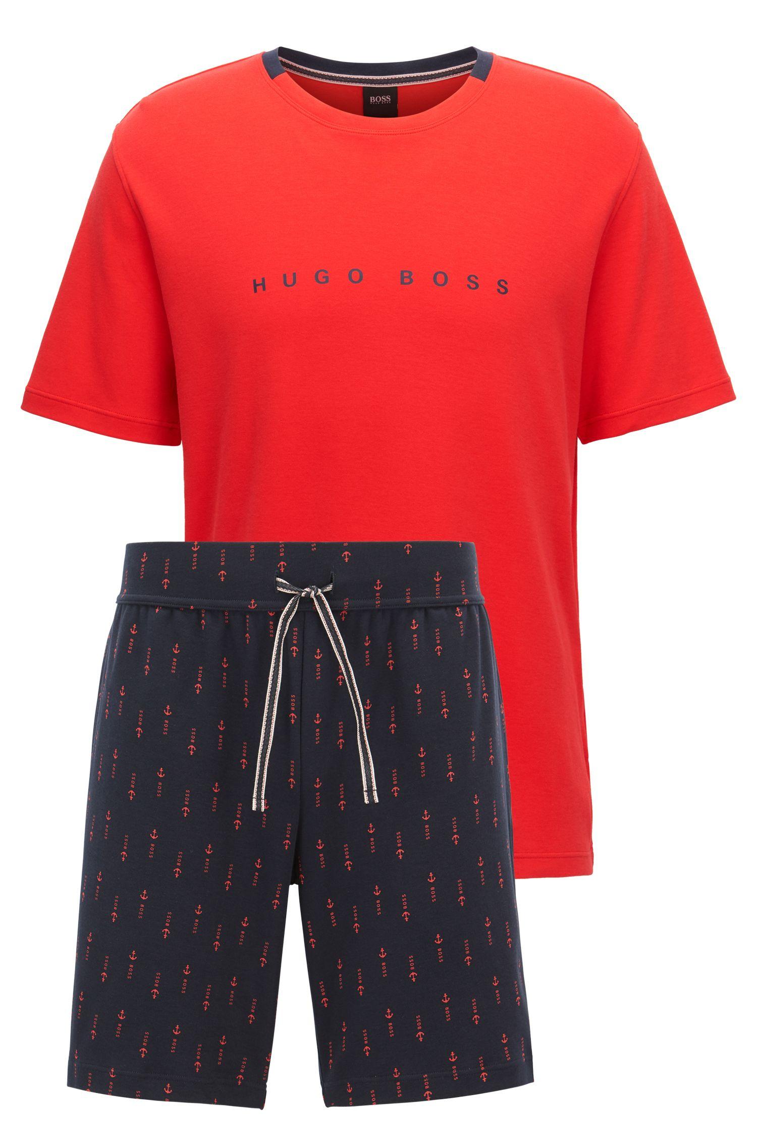 Pyjamaset van zuivere katoen met logodetail