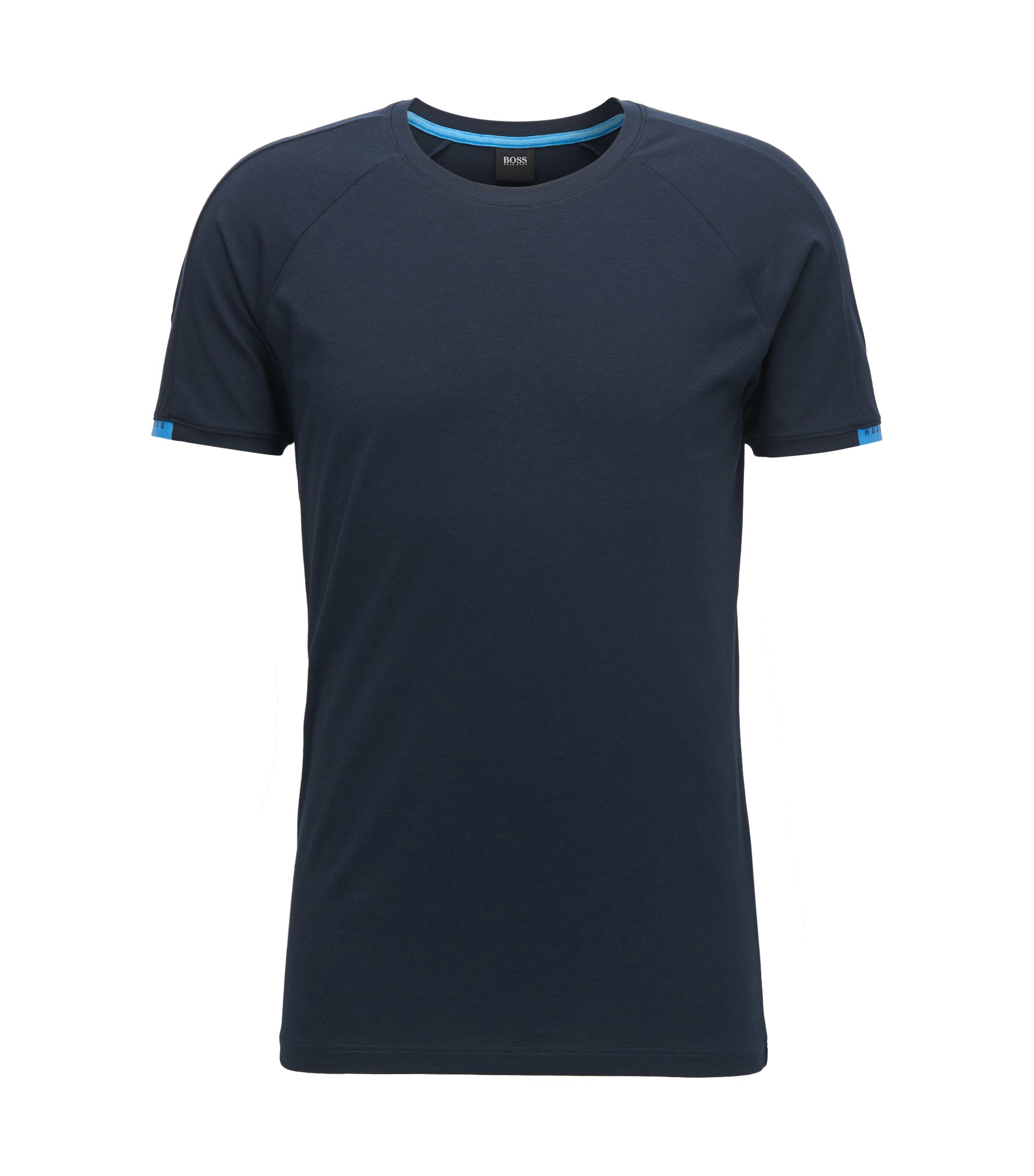 Crew-neck underwear top in stretch single jersey, Dark Blue