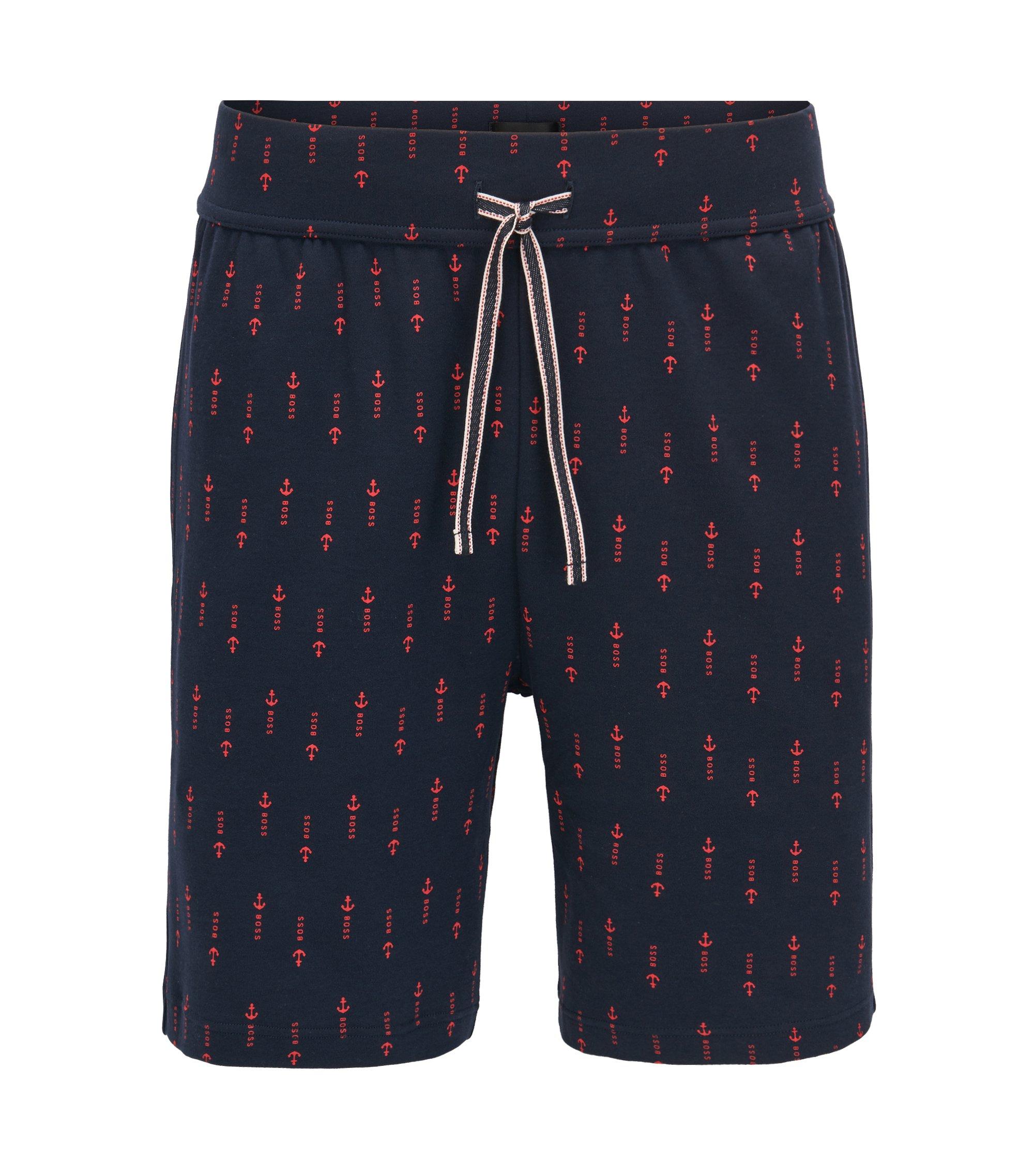 Pyjama-Shorts aus Baumwolle mit Anker-Print, Blau