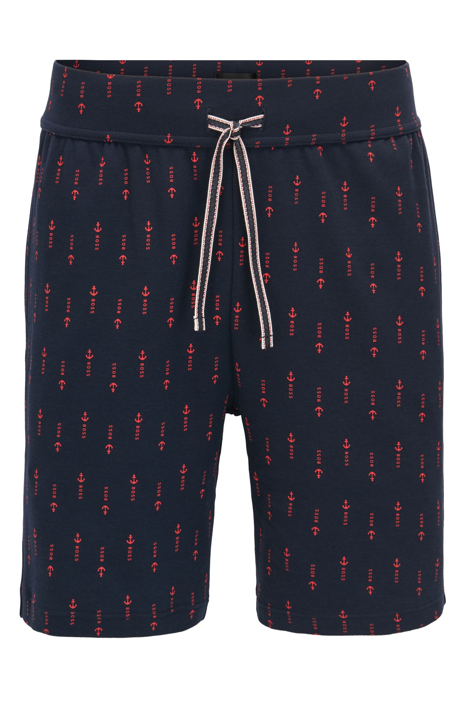 Cotton pyjama shorts with anchor print