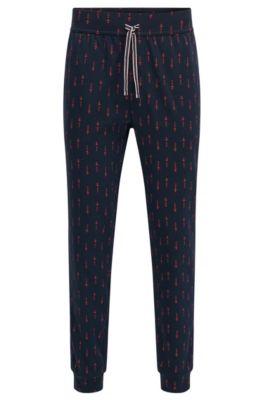Bedruckte Pyjama-Hose aus Baumwolle mit Beinbündchen, Blau