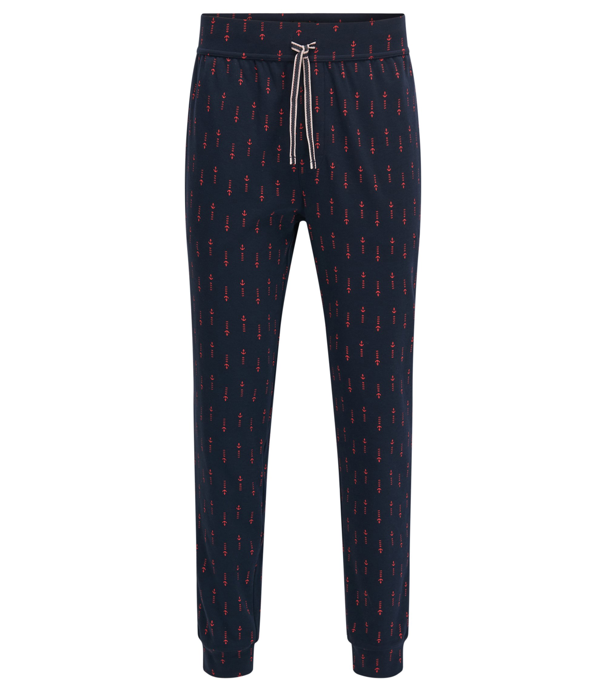 Cuffed pyjama bottoms in printed cotton, Blue