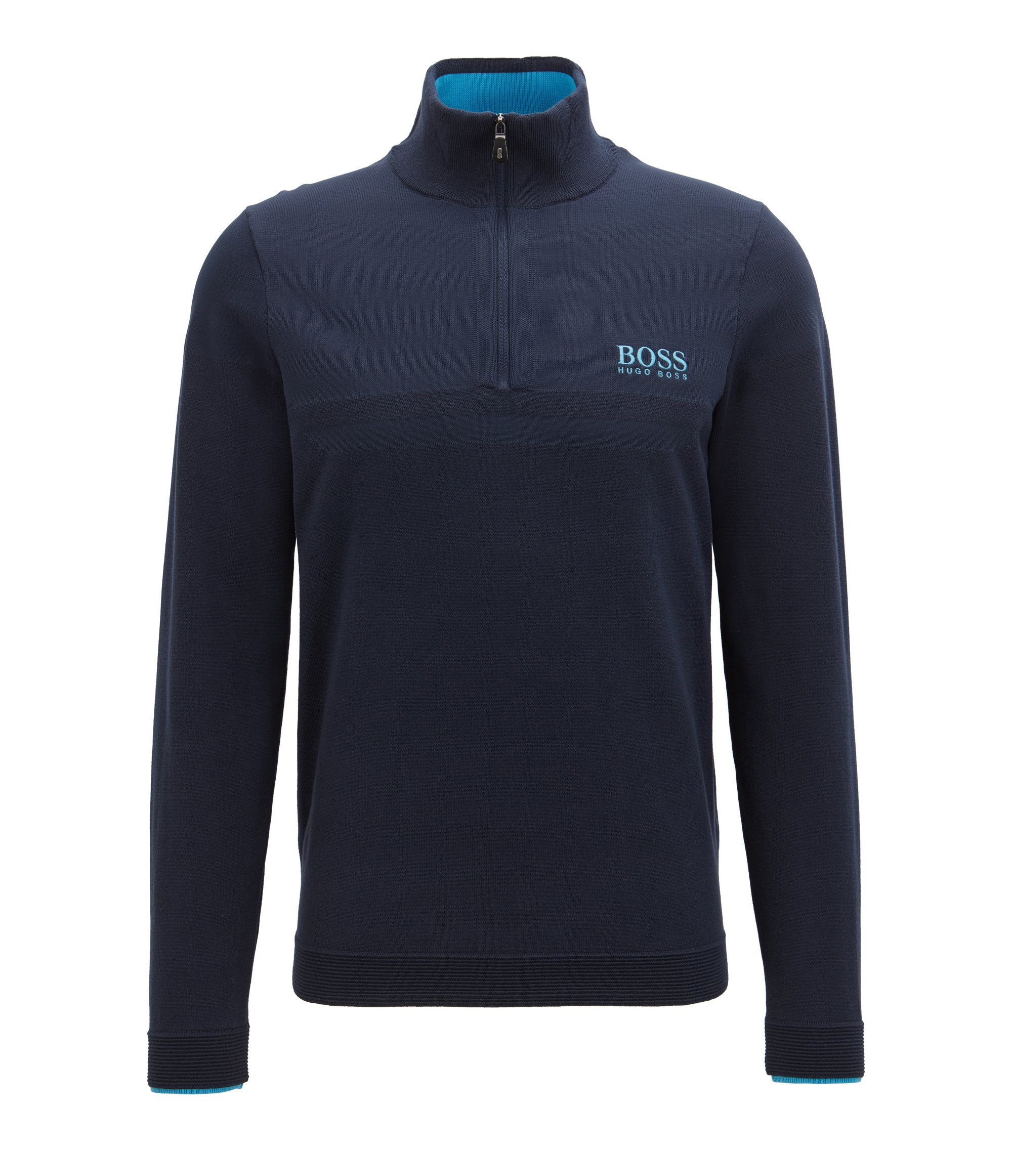 Long-sleeved zip-neck sweater with COOLMAX®, Dark Blue