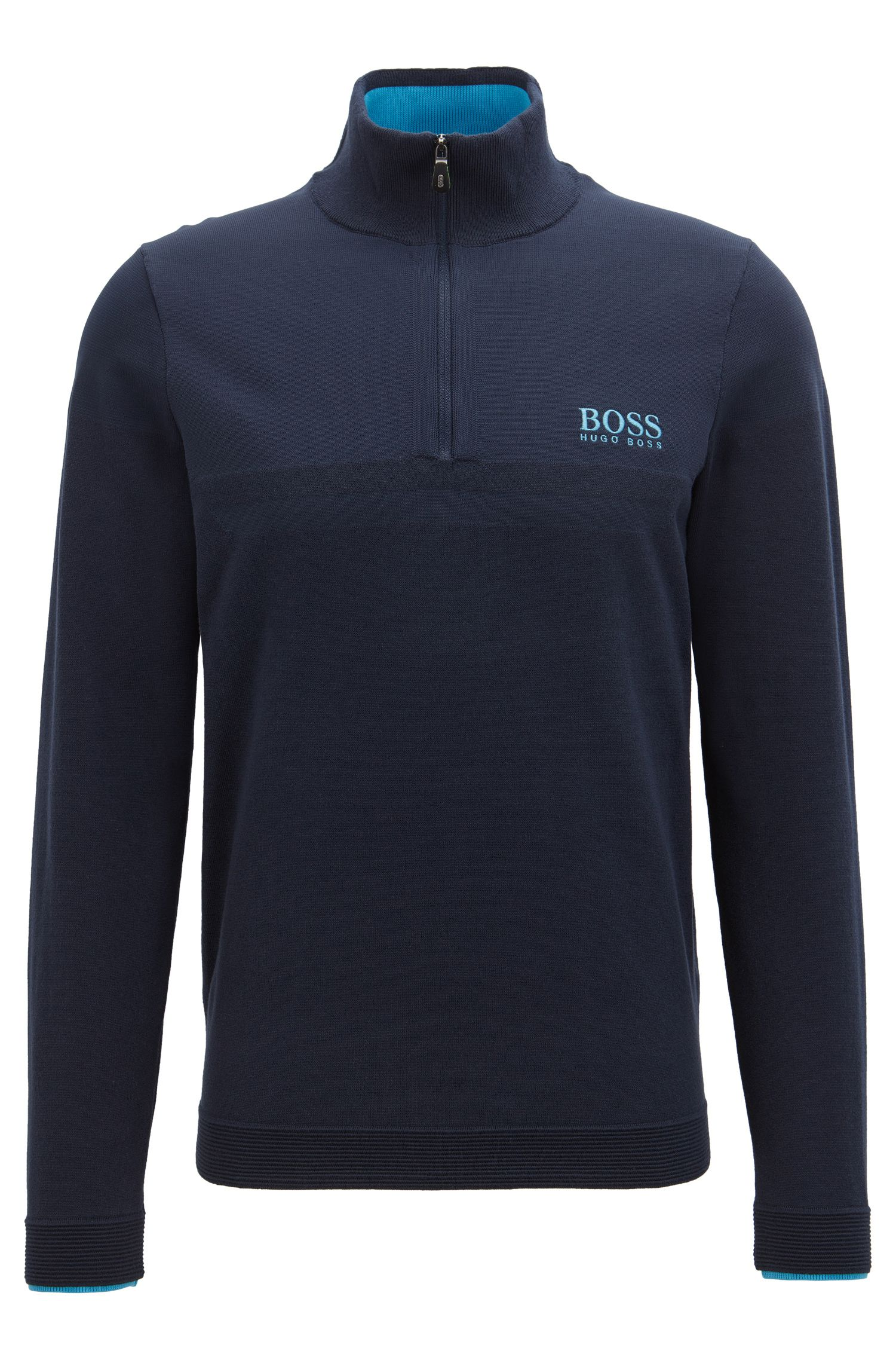 Long-sleeved zip-neck sweater with COOLMAX®