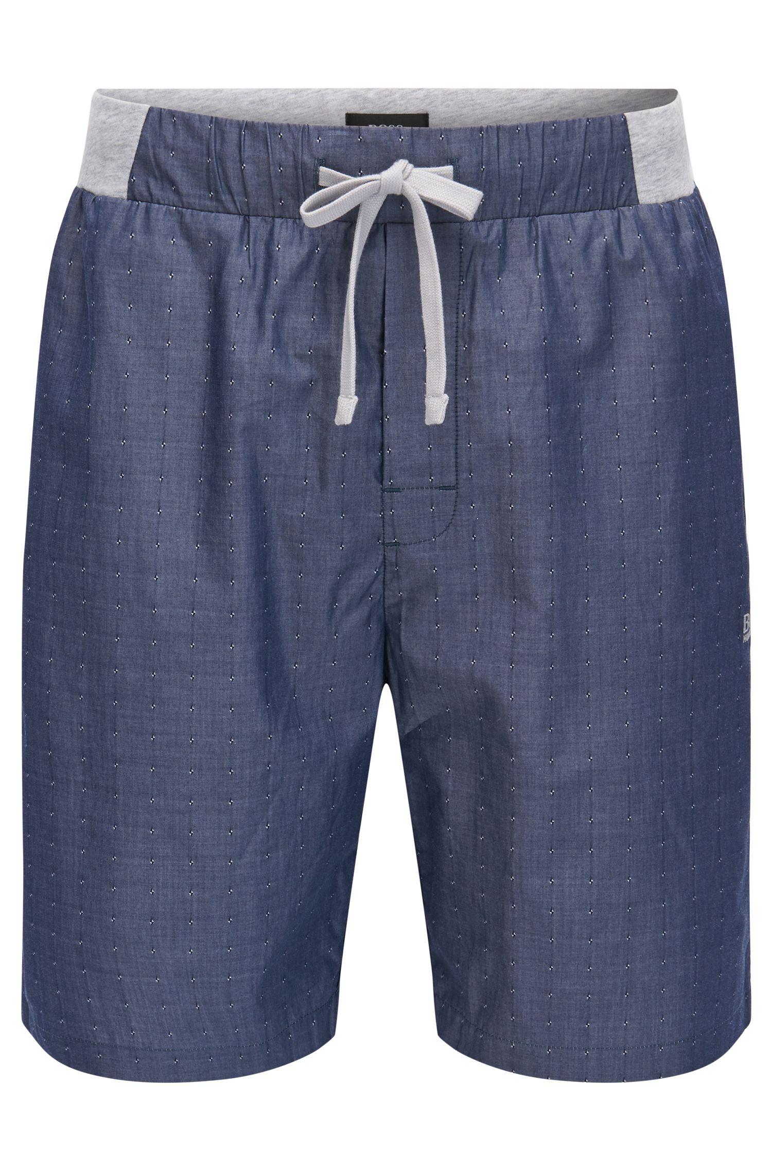 Katoenen pyjamashort met fil coupé