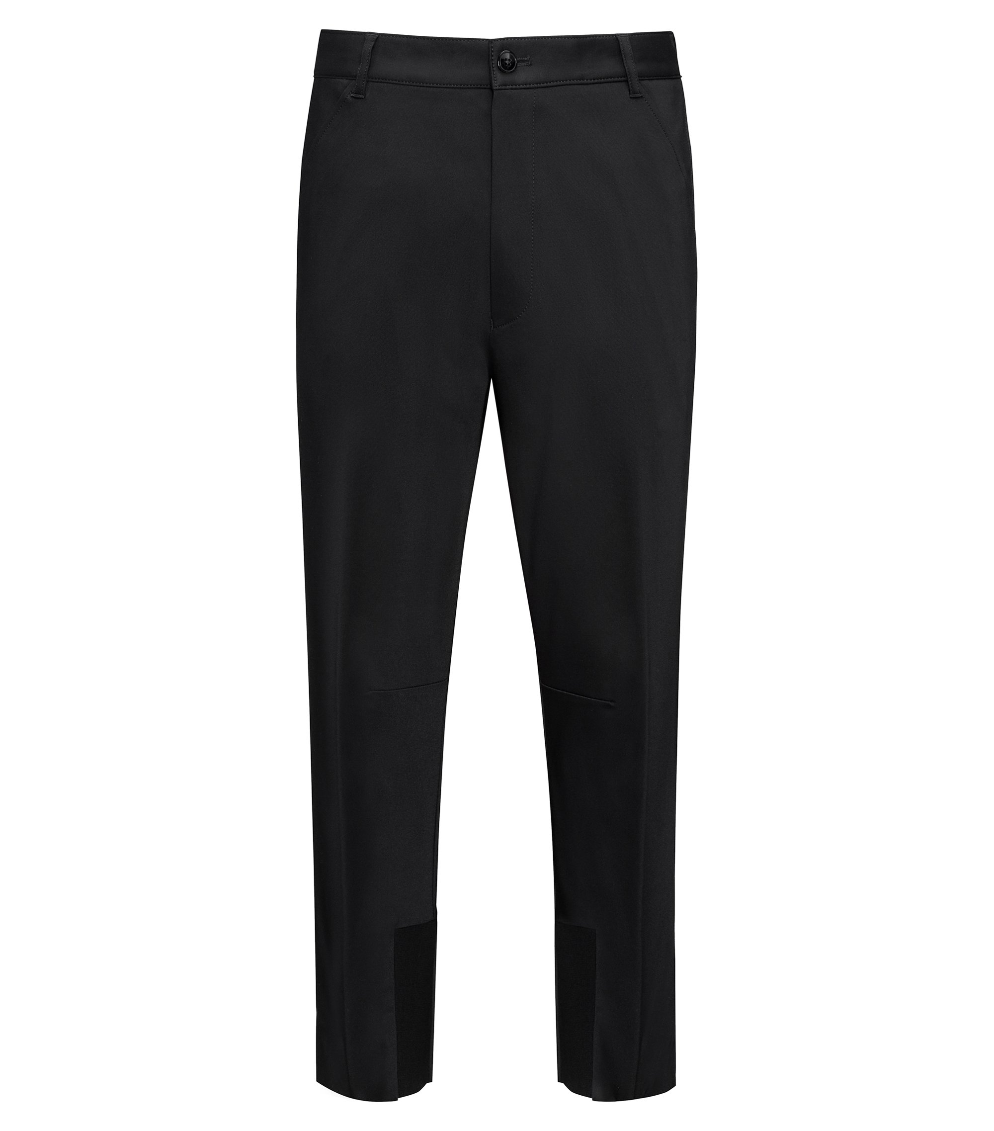 Tapered fit cropped trousers with knitted panels, Black