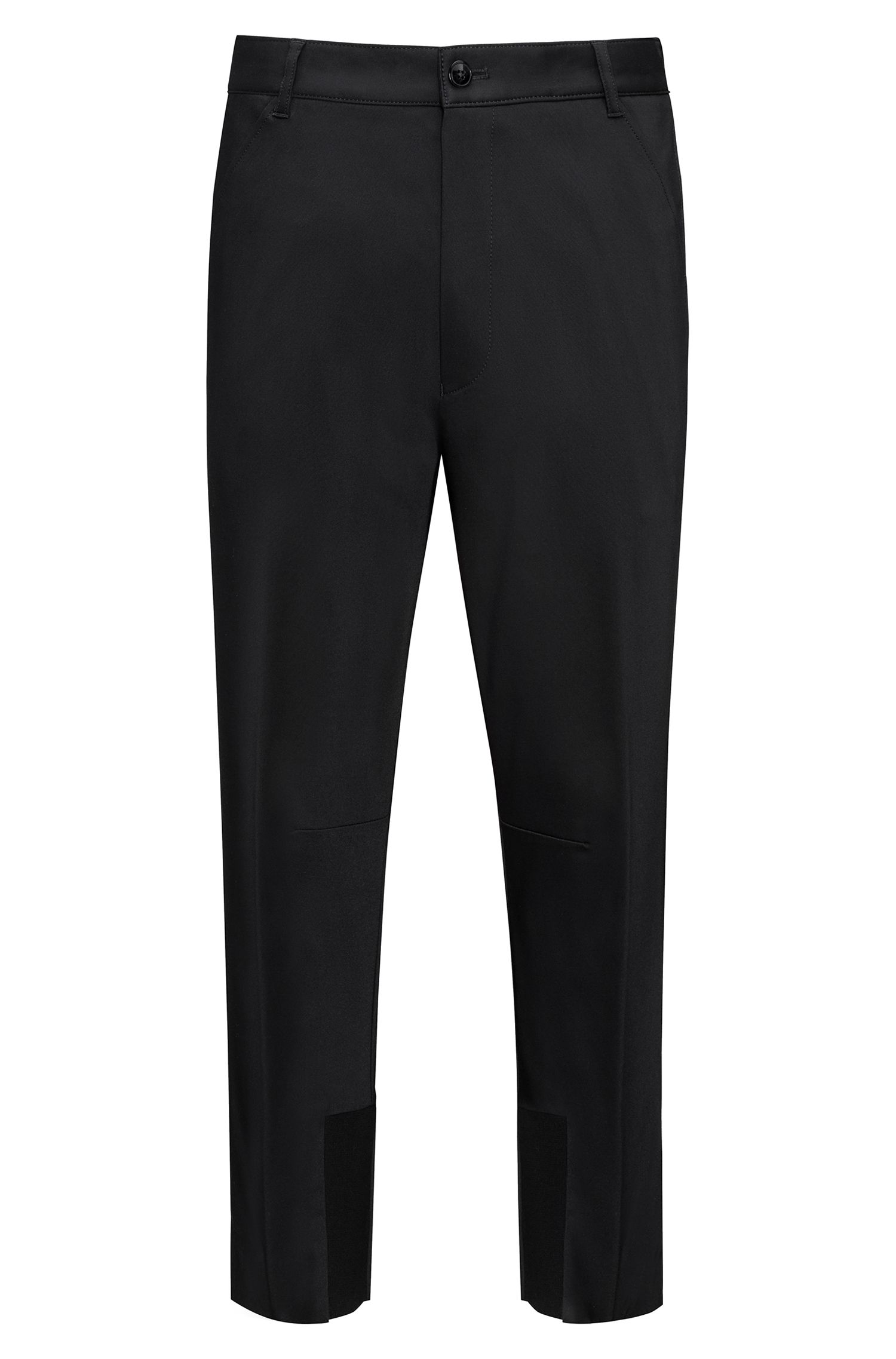 Tapered fit cropped trousers with knitted panels