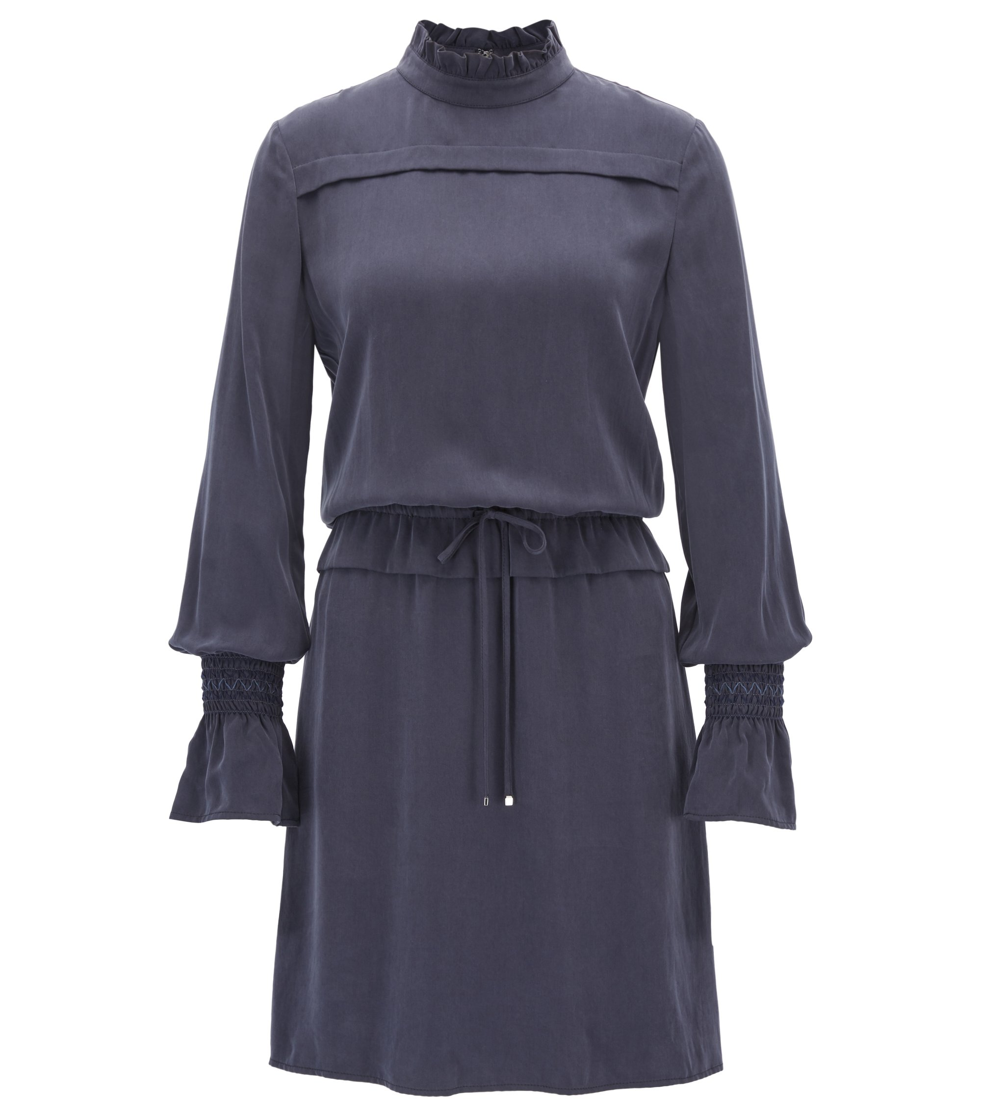 Modal dress with ruffle trims, Dark Blue