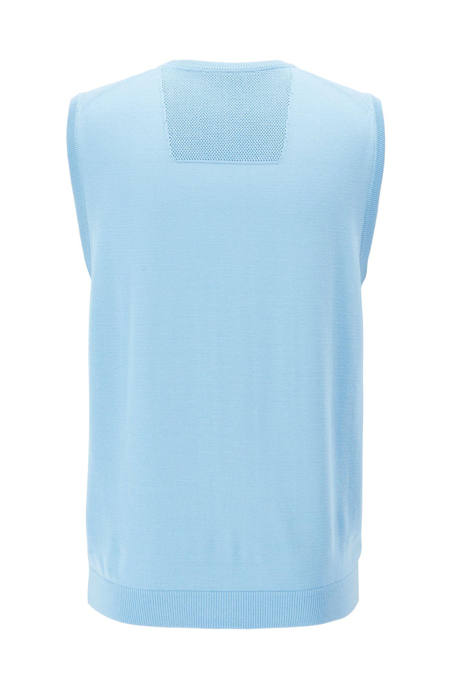 Knitted vest in water-repellent virgin wool