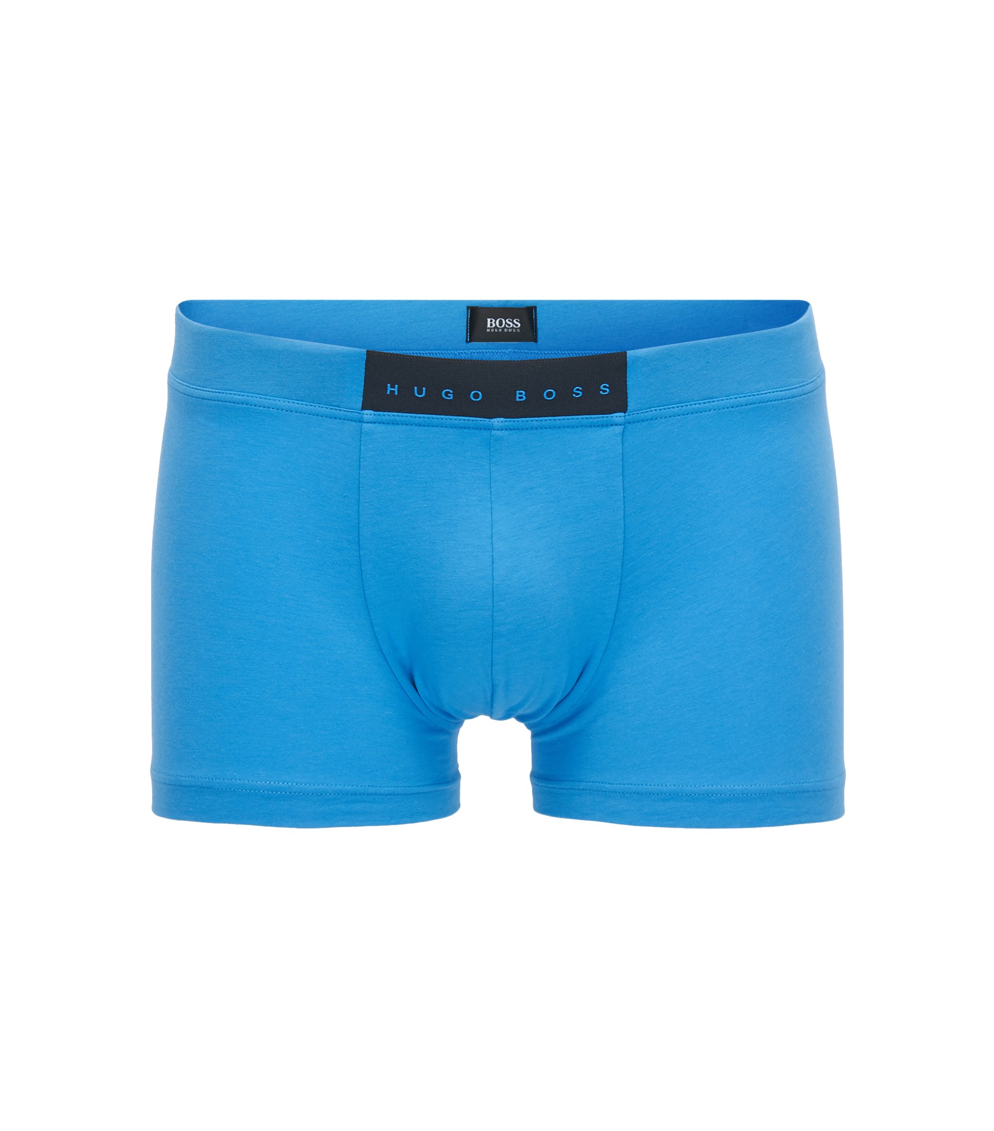 Boxer court Regular Rise en stretch avec logo en gomme, Bleu