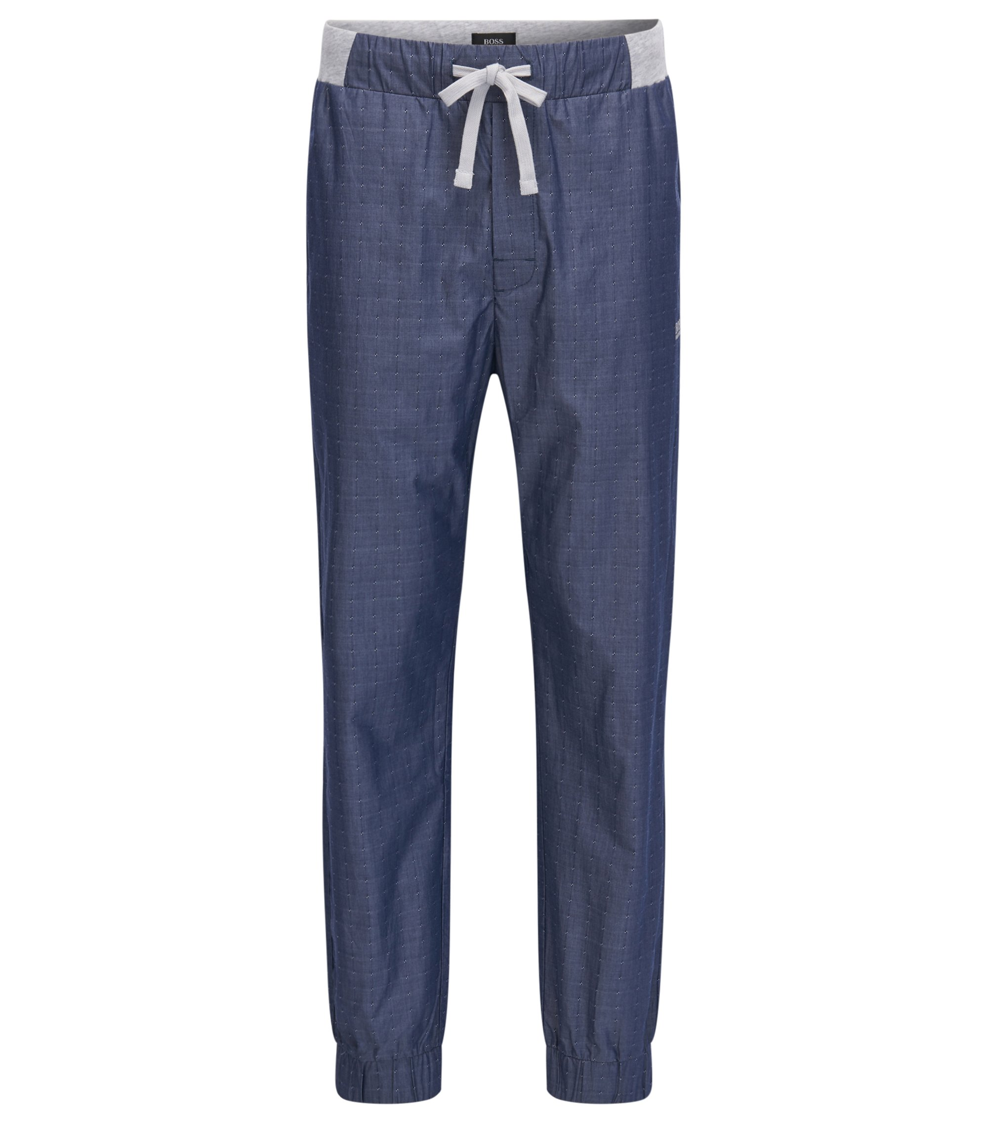 Cuffed-leg cotton pyjama trousers with fils coupé , Grey