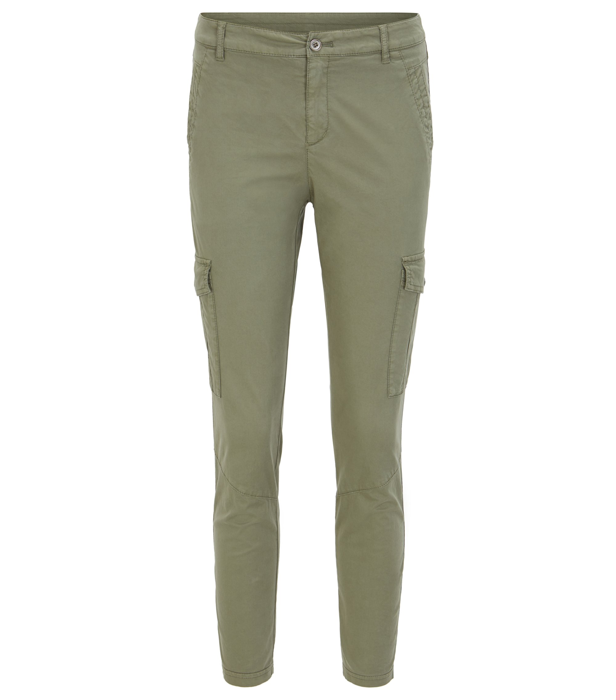 Slim-Fit Cargohose aus Stretch-Baumwolle, Khaki