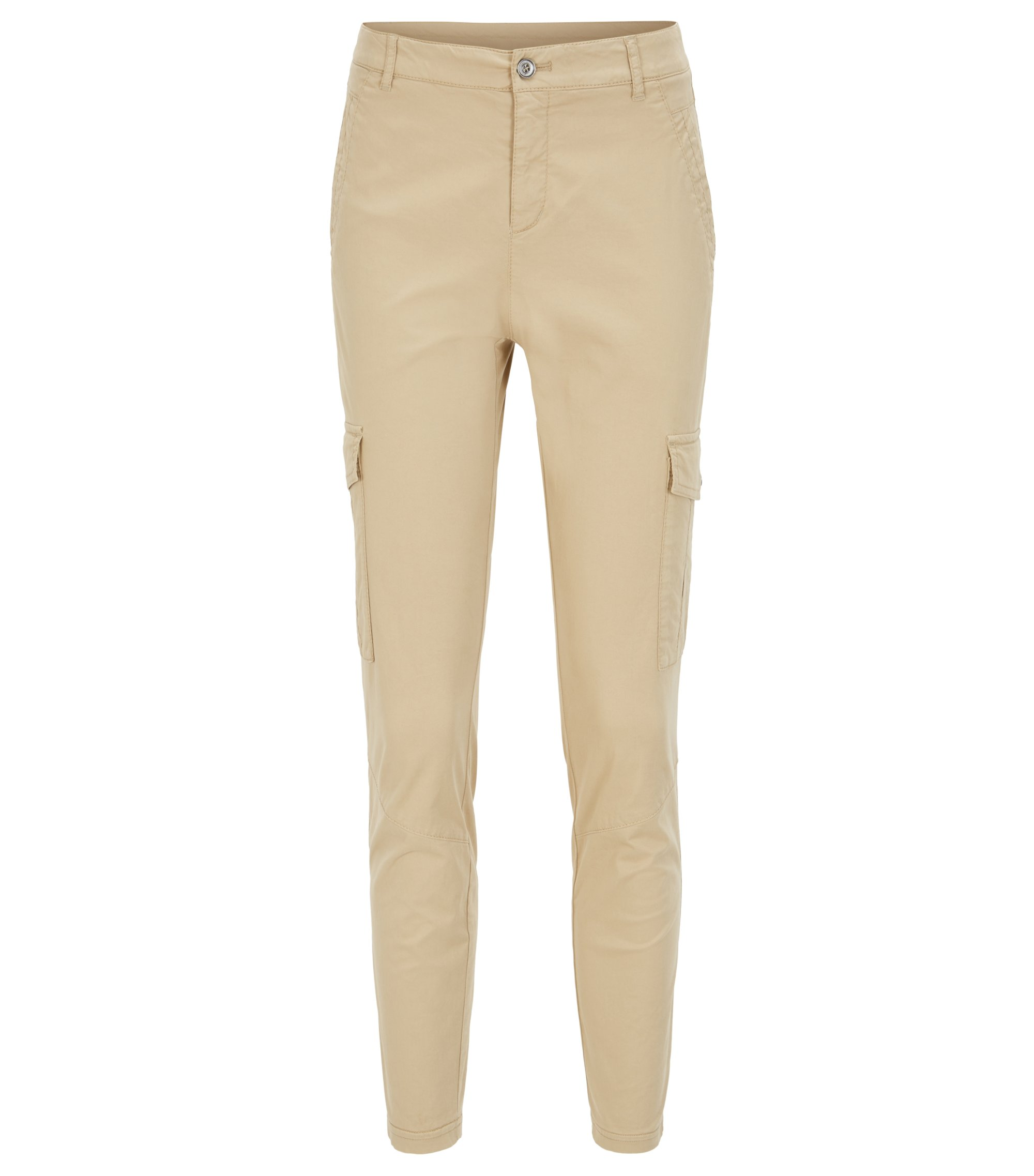 Slim-Fit Cargohose aus Stretch-Baumwolle, Beige