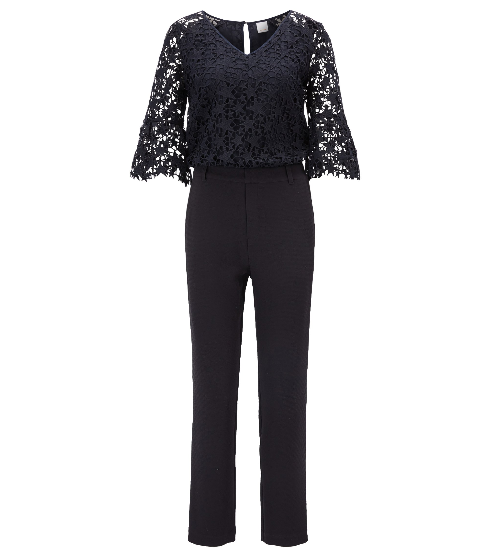 Modern jumpsuit in crepe and star lace, Dark Blue