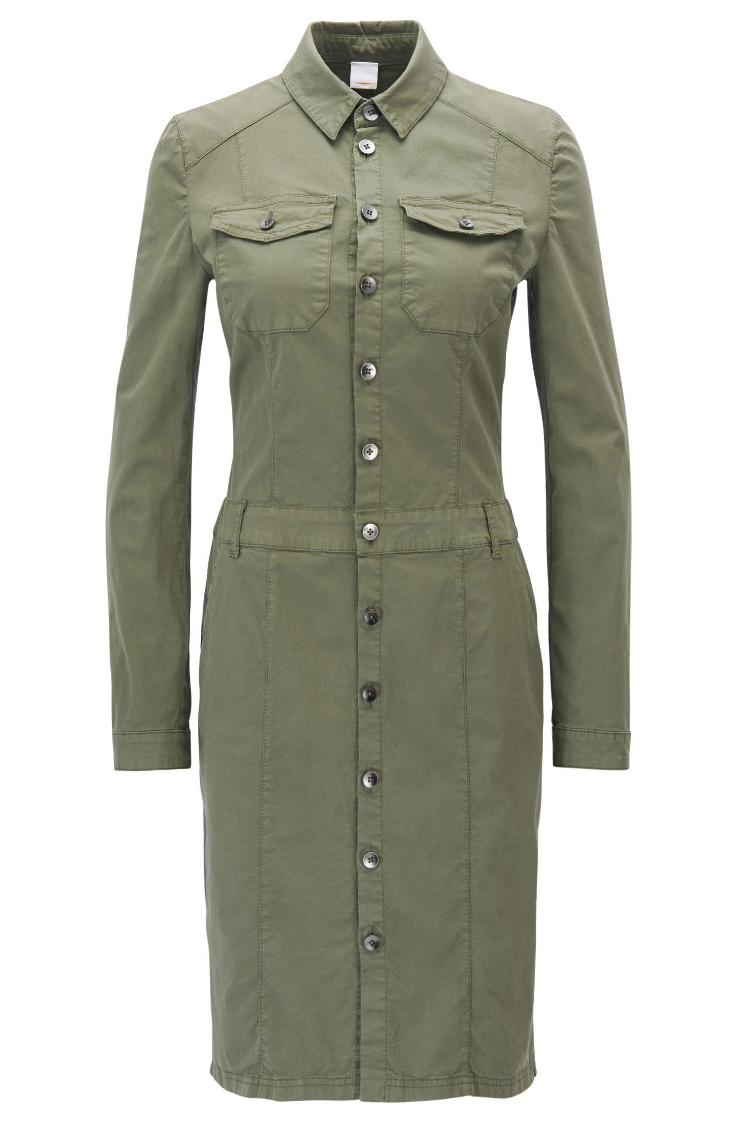 Hemdblusenkleid im Cargo-Stil aus Baumwoll-Satin