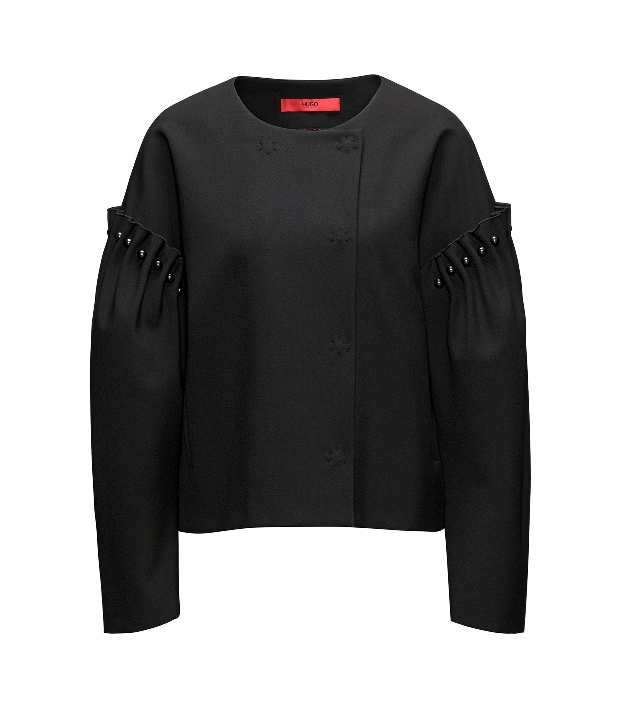 Oversized-fit jacket with pearl embellishments, Black