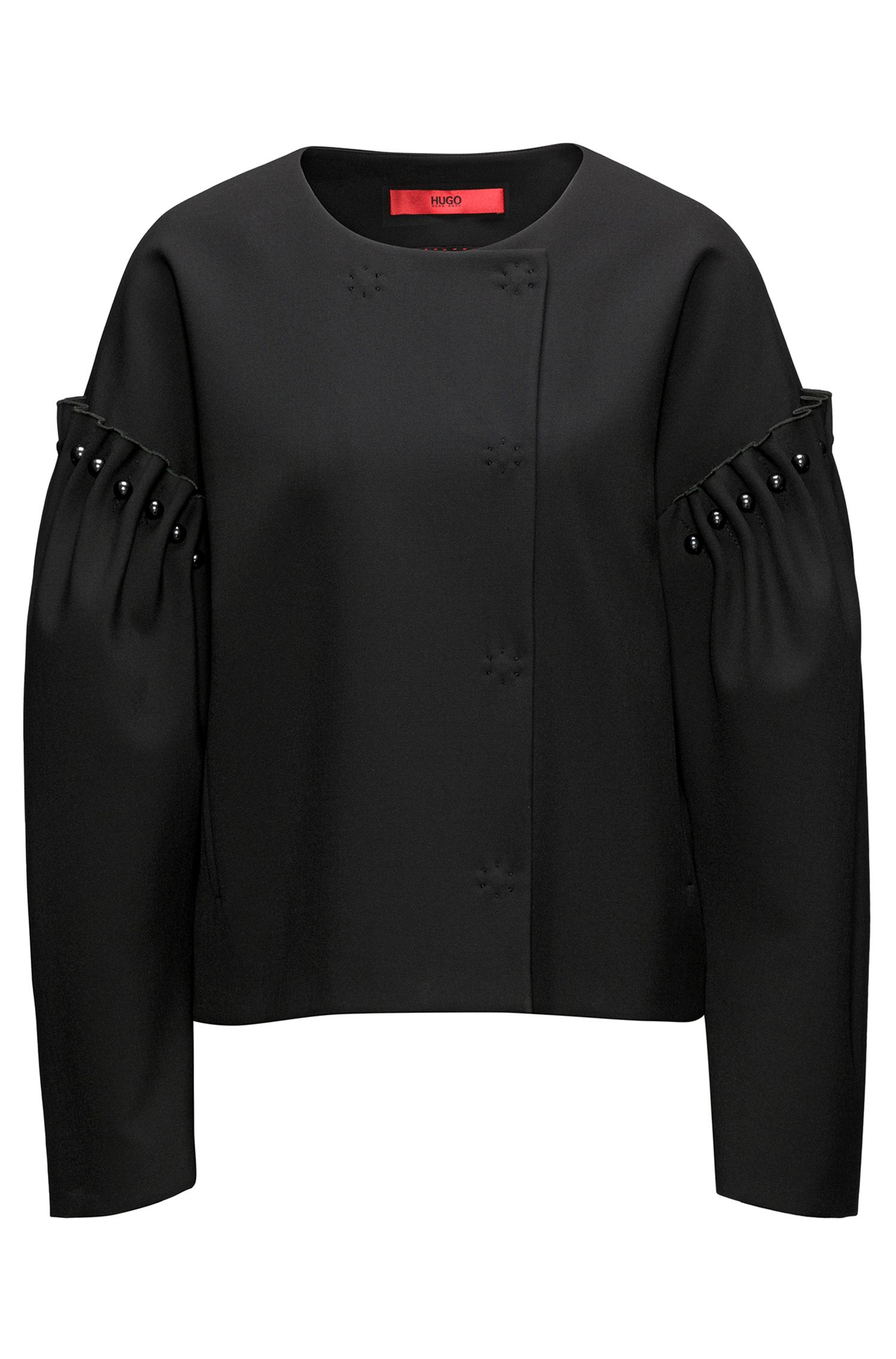 Oversized-fit jacket with pearl embellishments