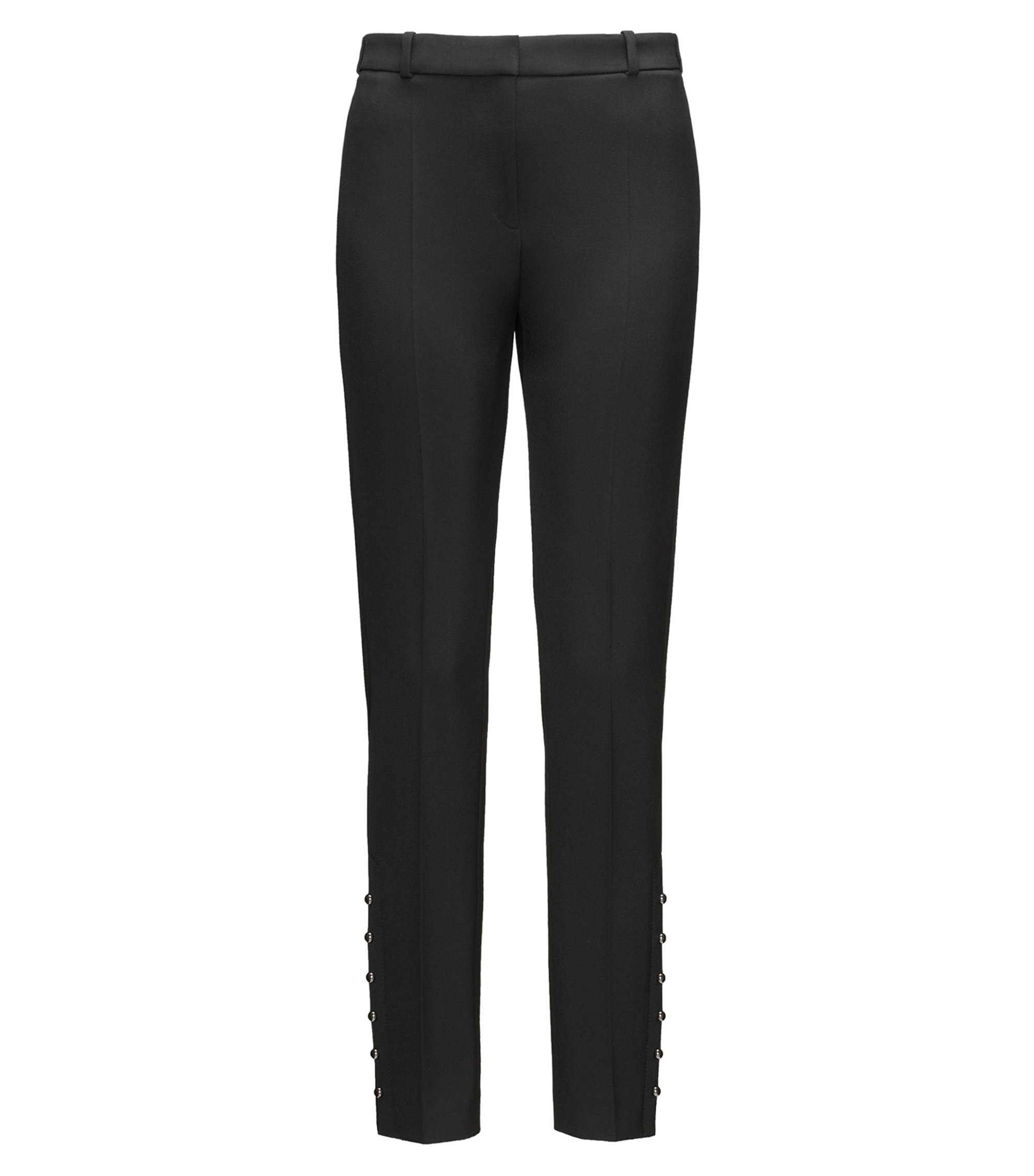 Slim-fit cropped trousers with pearl details, Black