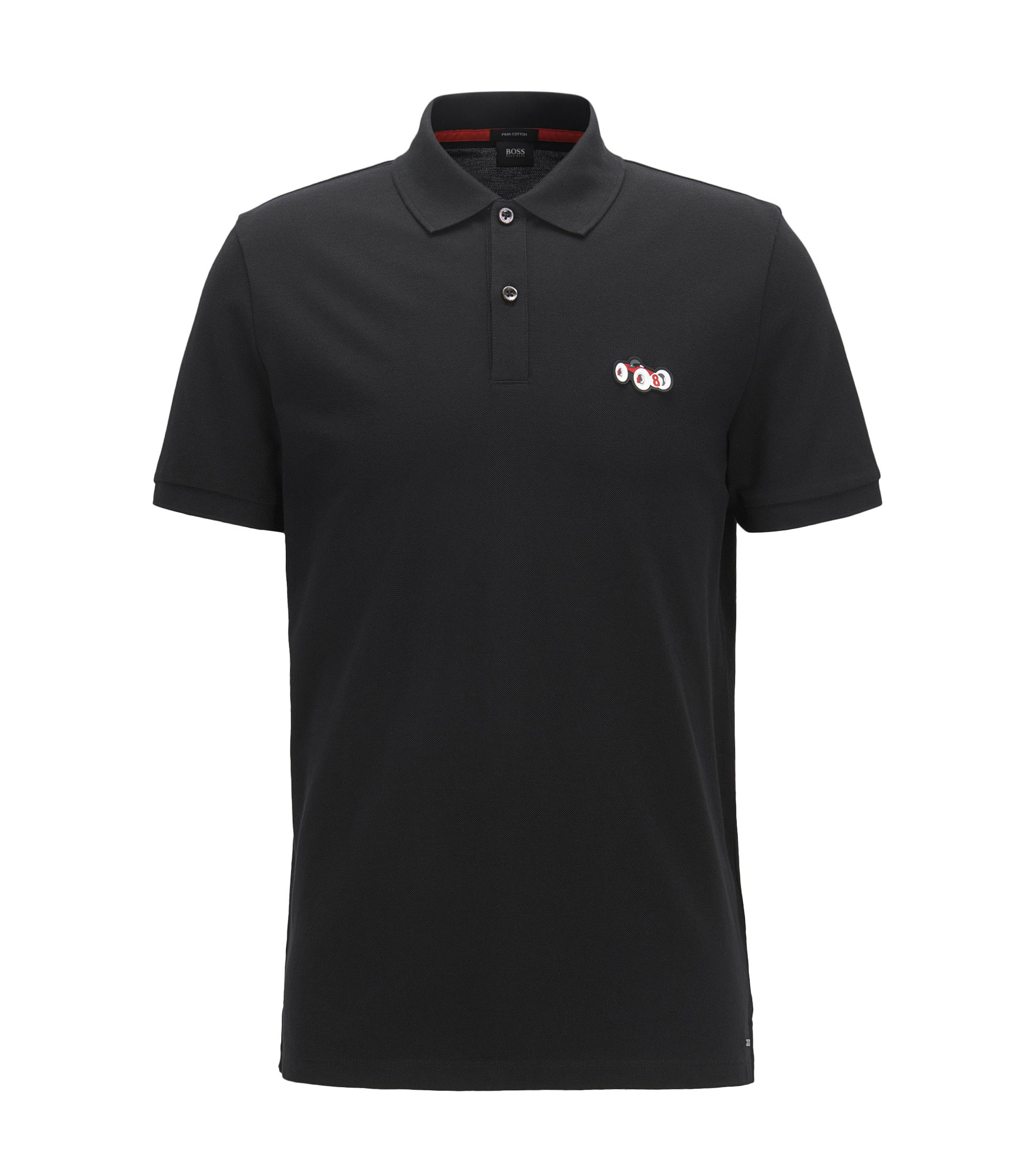 Regular-fit cotton polo shirt with race car motif, Black