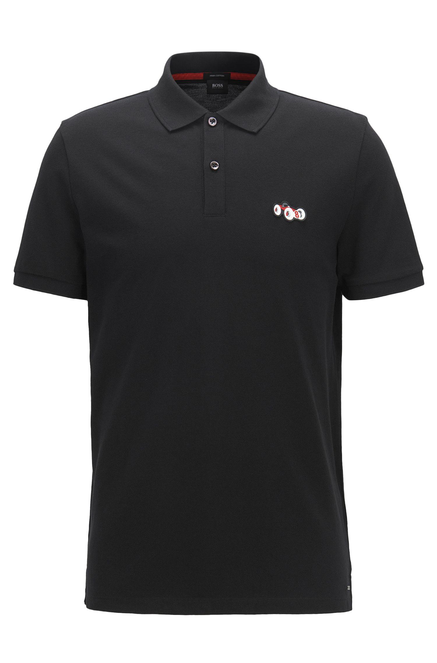Regular-Fit Poloshirt aus Baumwolle mit Rennwagen-Motiv, Schwarz