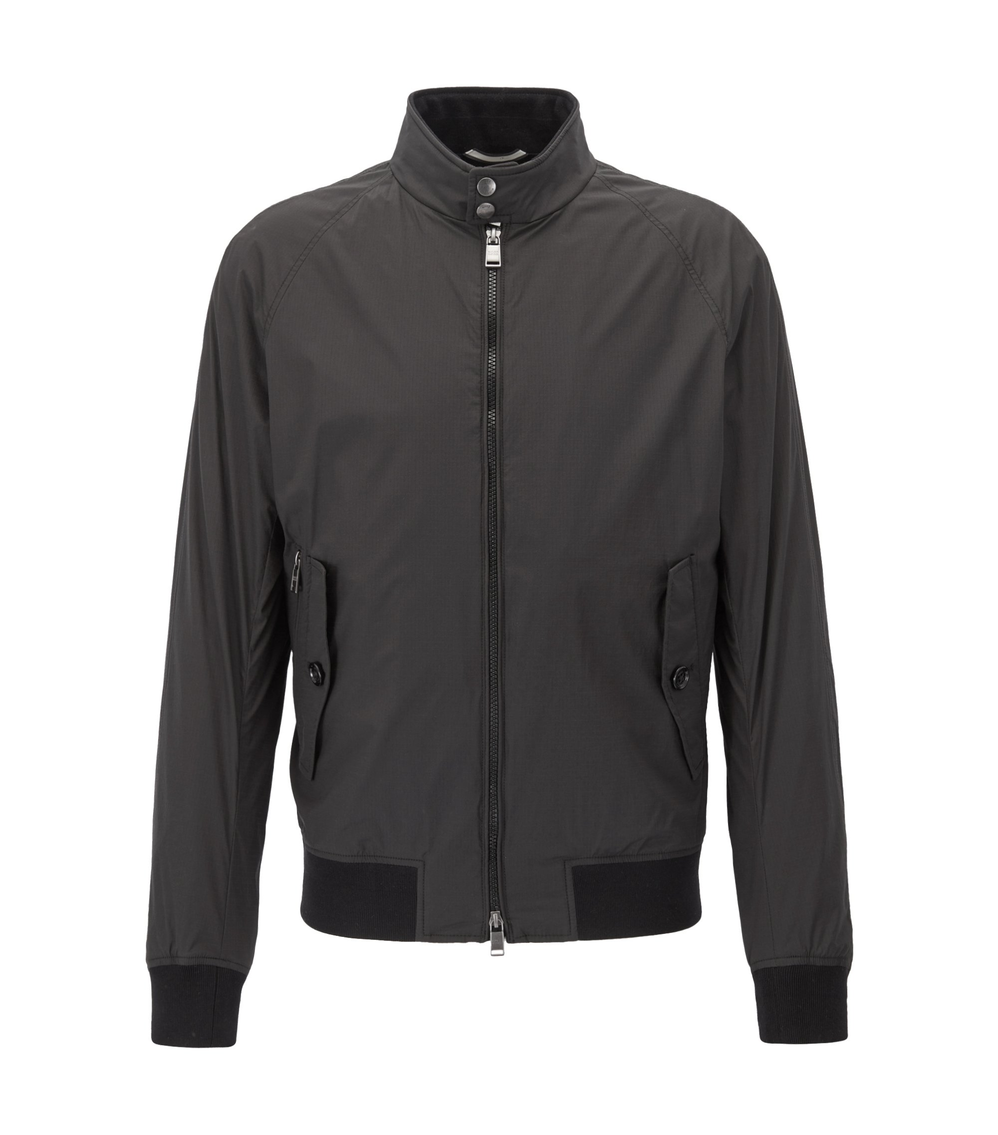 Ultra-light blouson jacket in water-repellent ripstop fabric, Black