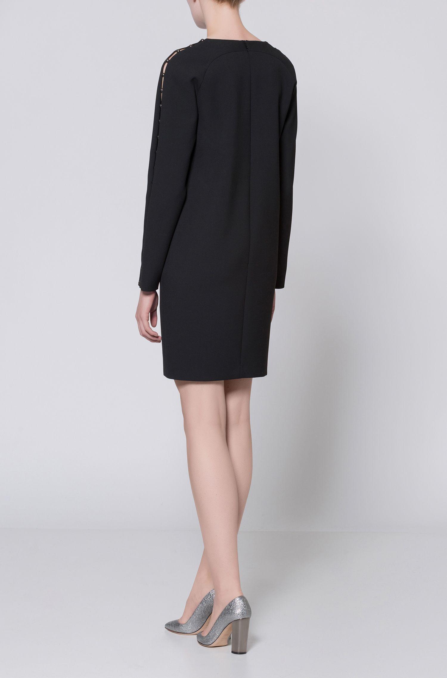 Kleid aus elastischem Material-Mix mit Baumwolle mit langen Ärmeln und Perlen-Besatz