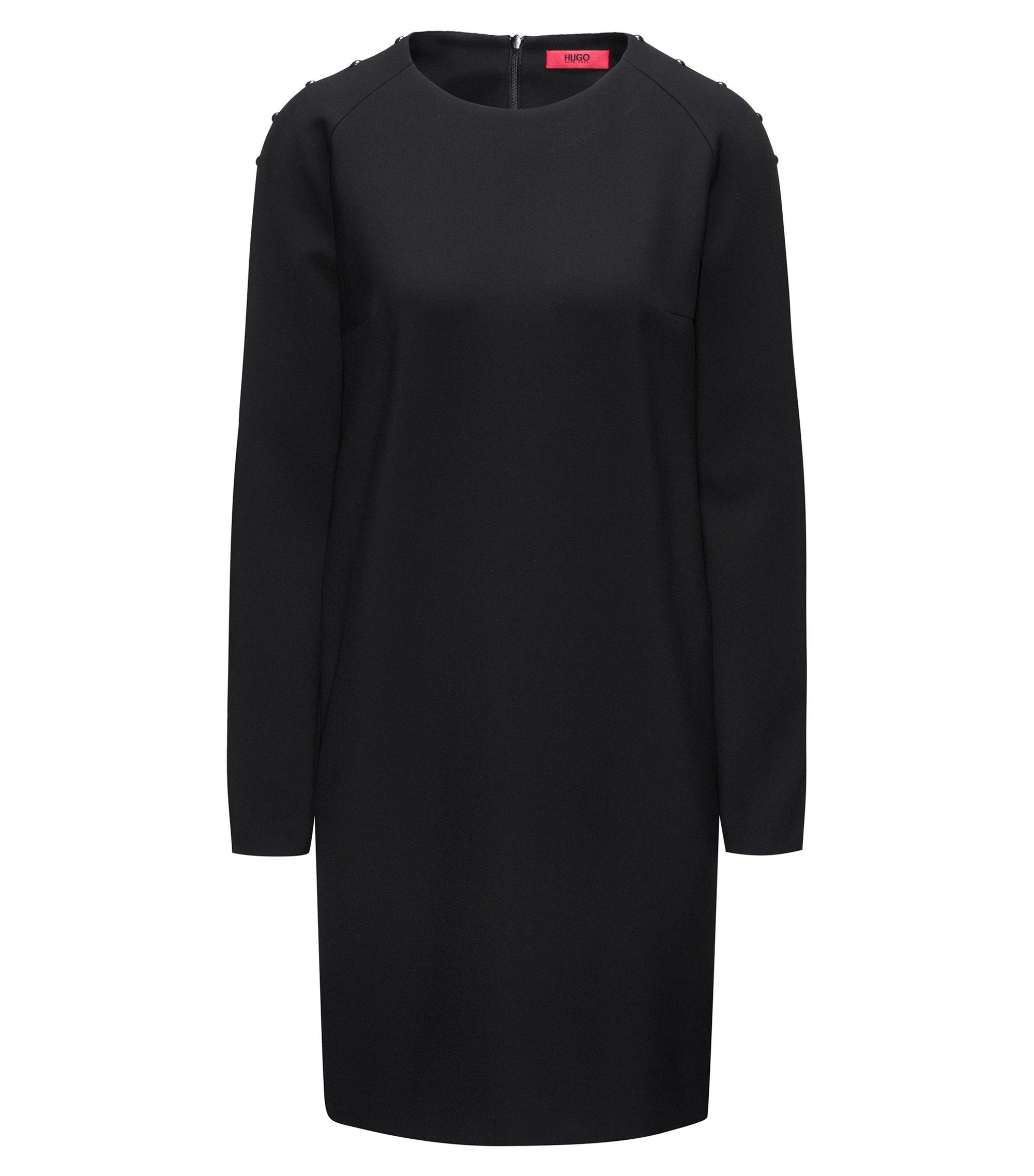 Long-sleeved dress with embellishments, Black