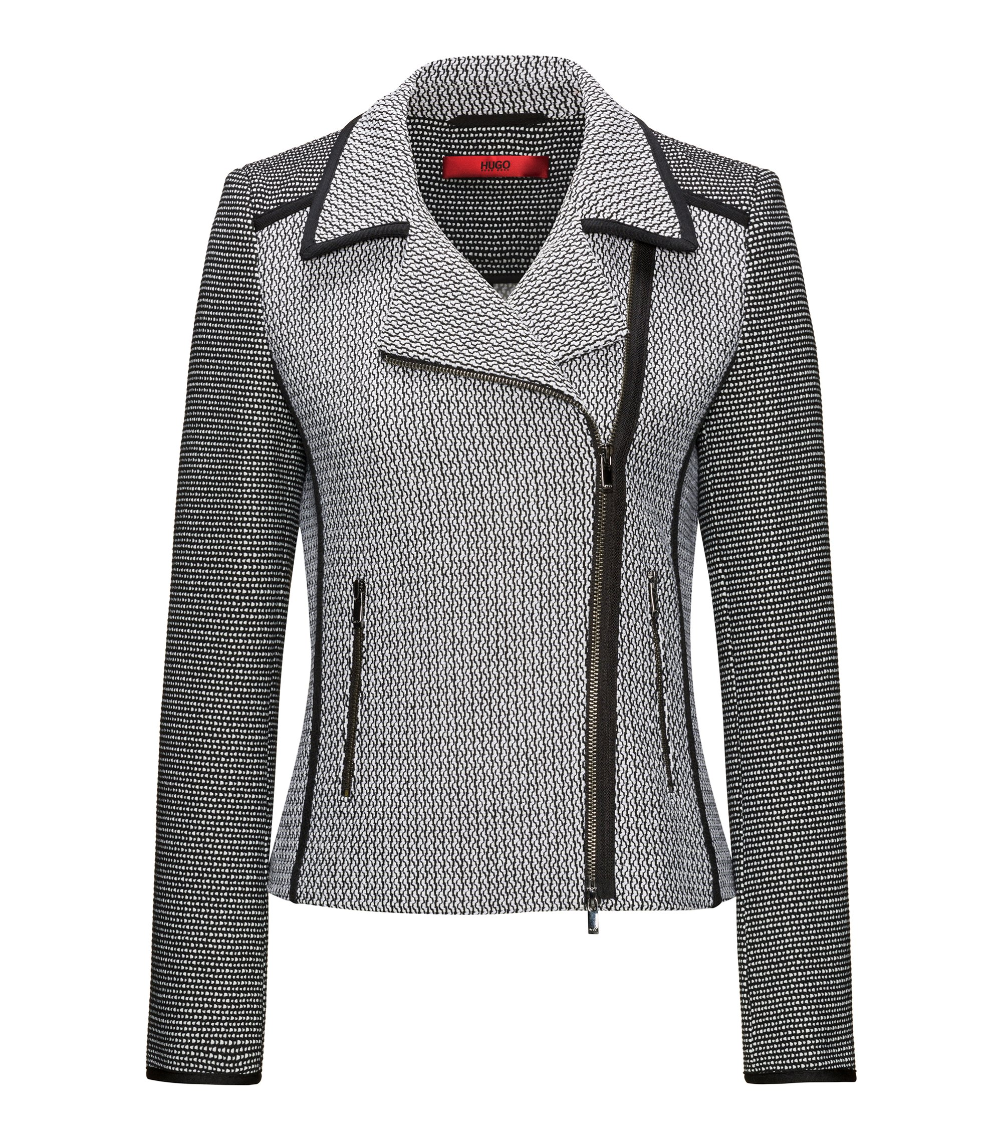 Patched tweed biker jacket with contrast piping, Patterned