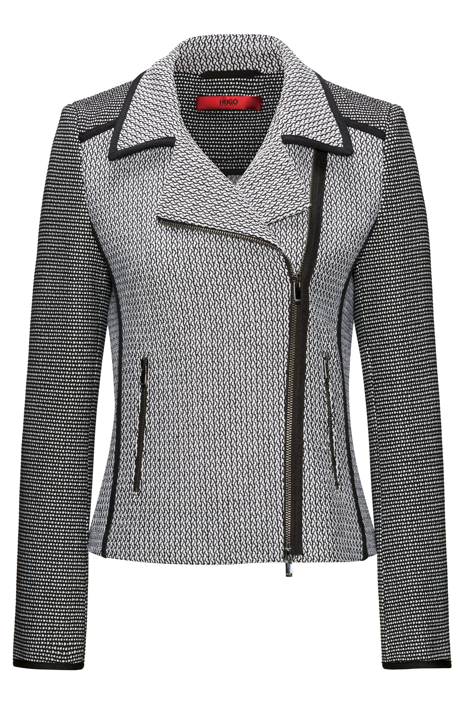 Patched tweed biker jacket with contrast piping