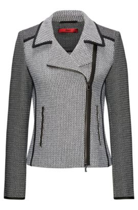 Patched tweed biker jacket with contrast piping, Gemustert