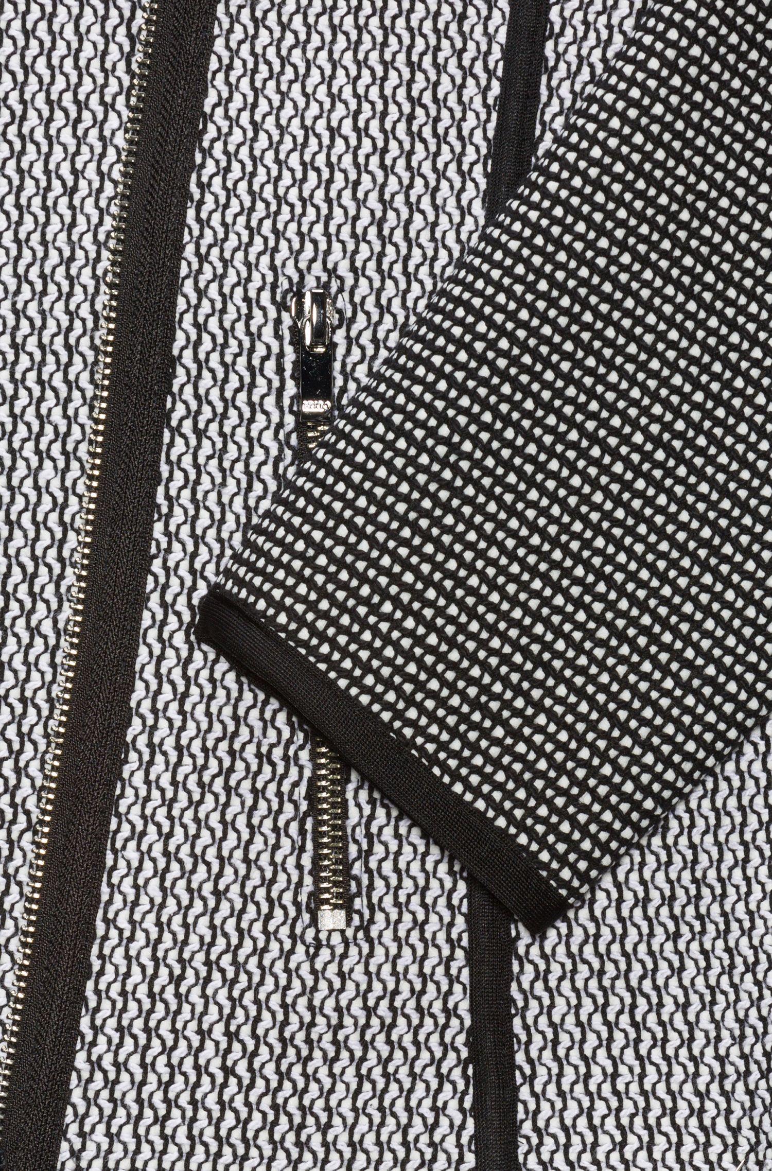 Blouson de motard en tweed avec panneaux et passepoil contrastant