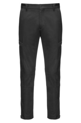 Slim-fit cargo trousers in cotton twill with zipped hems, Black