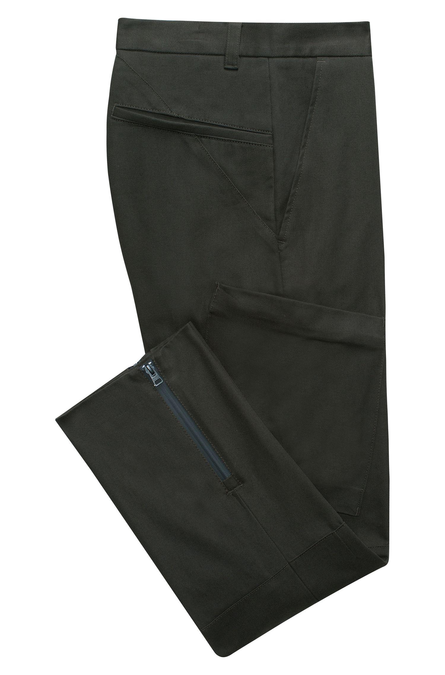 Pantalones cargo slim fit en sarga de algodón con cremalleras en los bajos