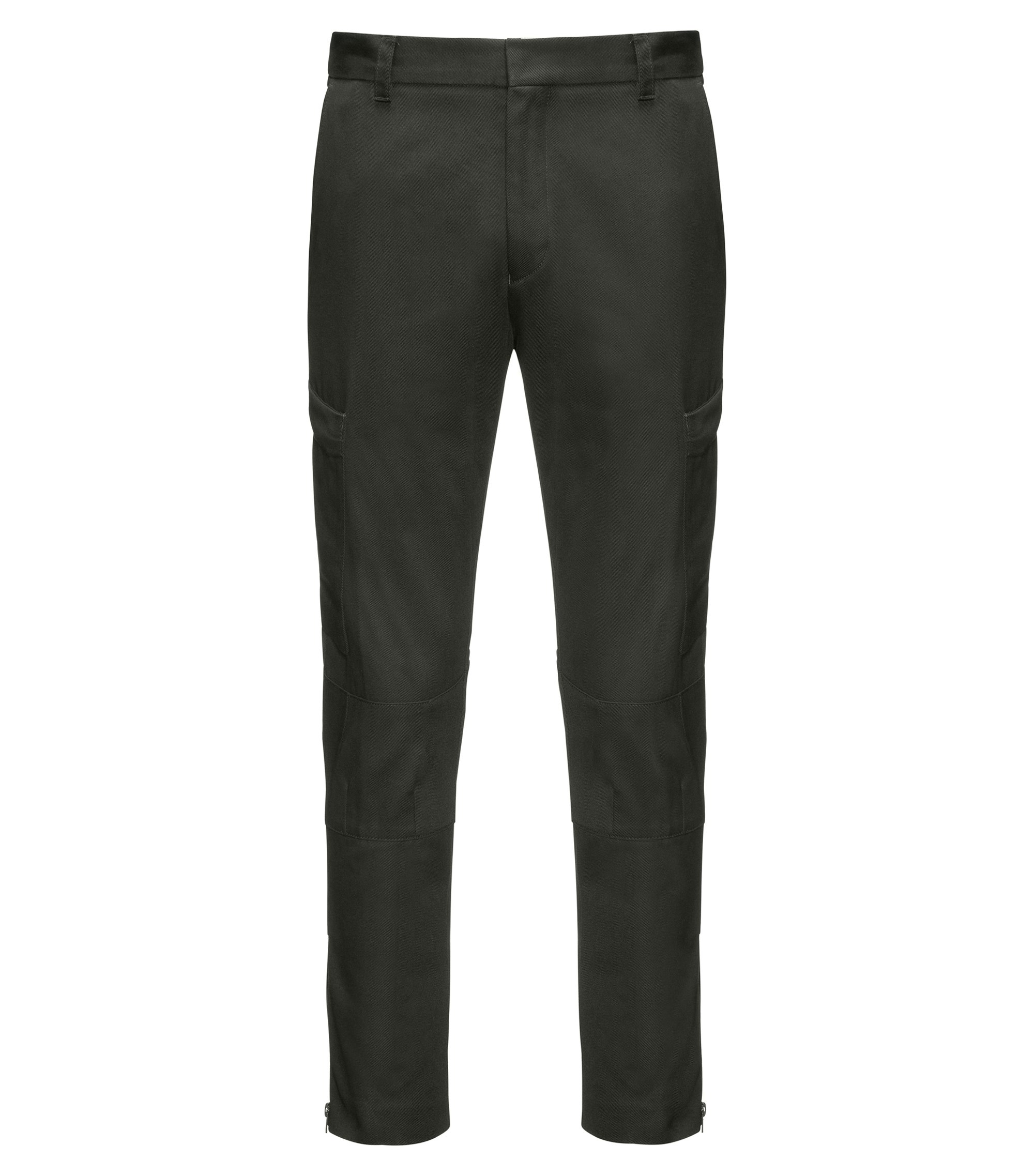 Slim-fit cargo trousers in cotton twill with zipped hems, Dark Green