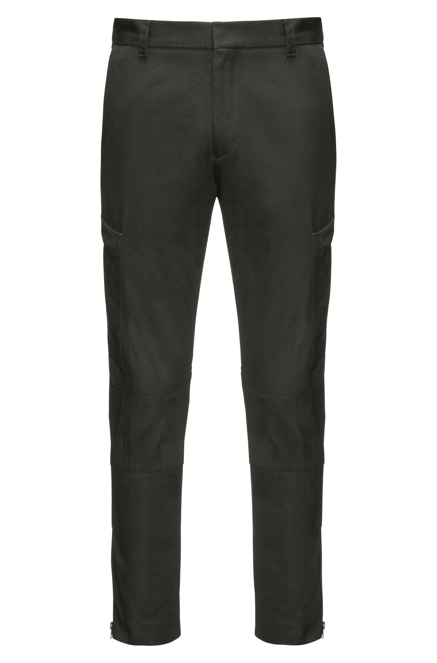 Pantalon cargo Slim Fit en twill de coton, zippé au bas des jambes