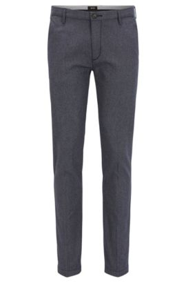 Slim-fit chinos in three-tone cotton, Dark Blue