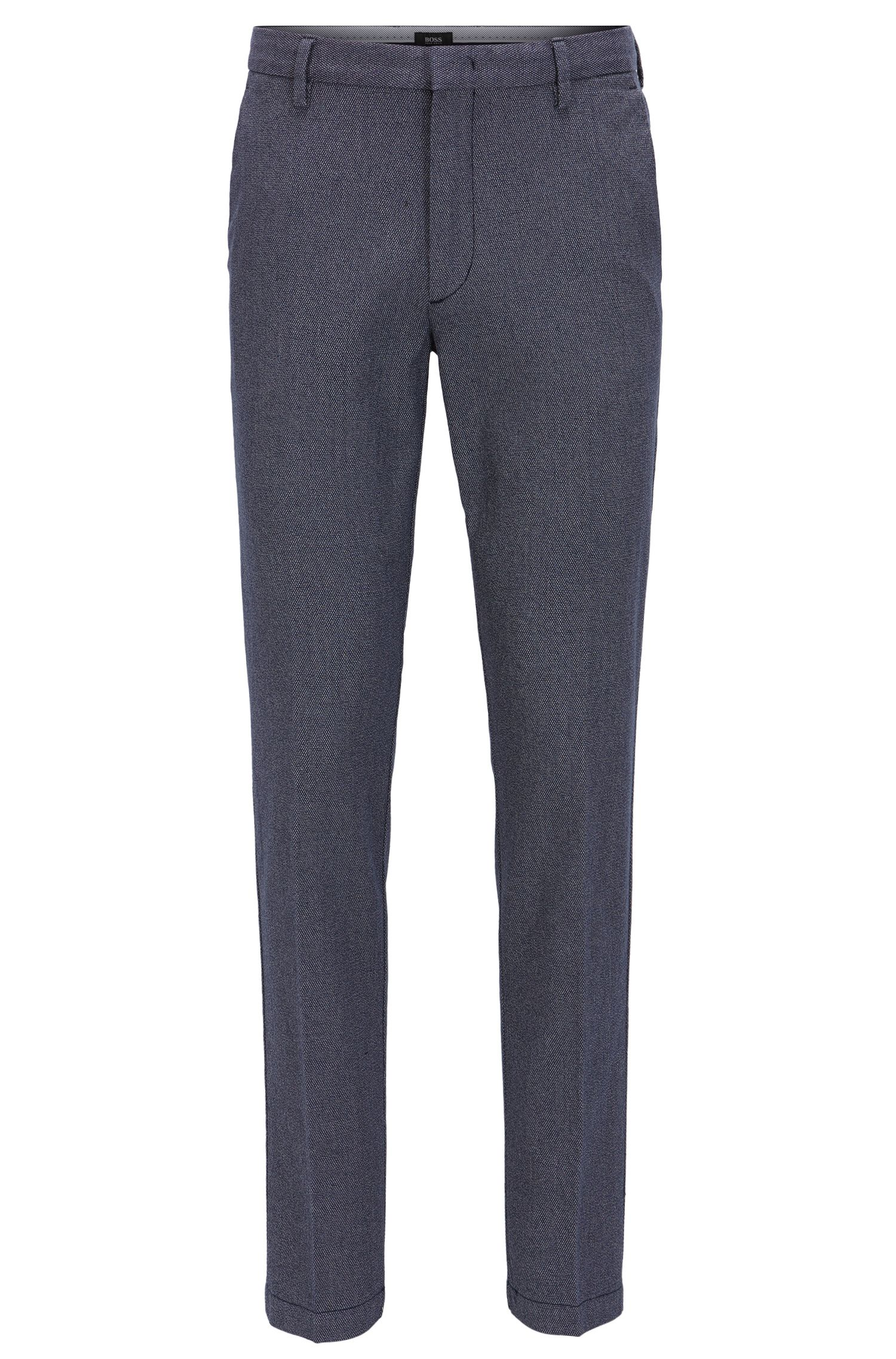 Slim-fit chinos in micro-pattern cotton
