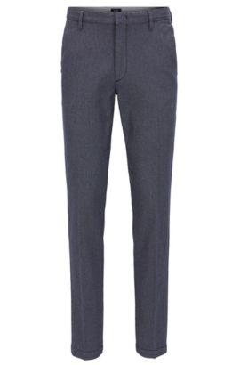 Chino Slim Fit en coton à micro-motif, Bleu foncé