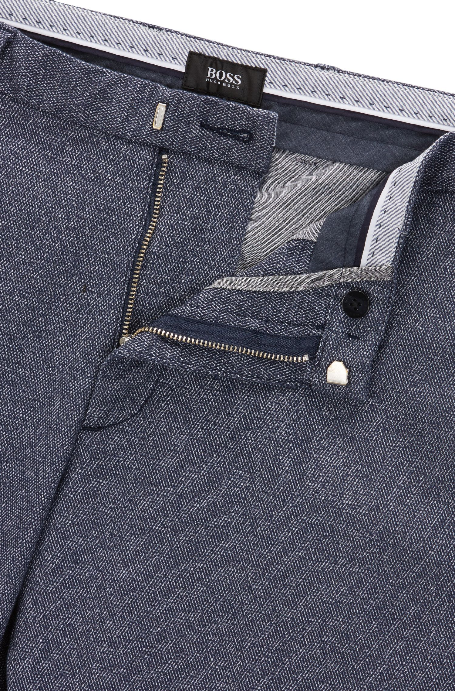 Slim-fit chinos in micro-pattern cotton BOSS