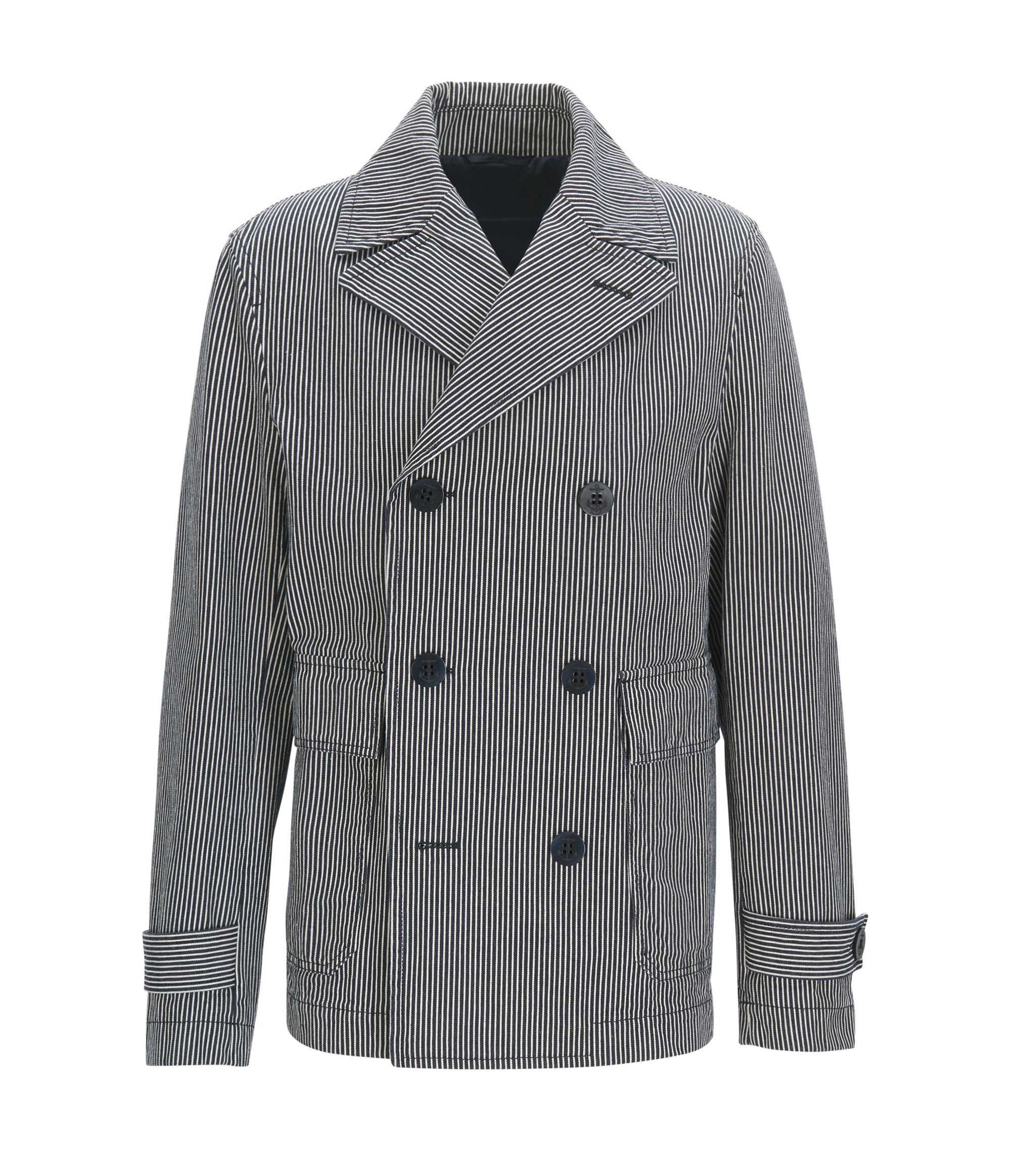 Double-breasted cotton peacoat with washed stripes, Dark Blue