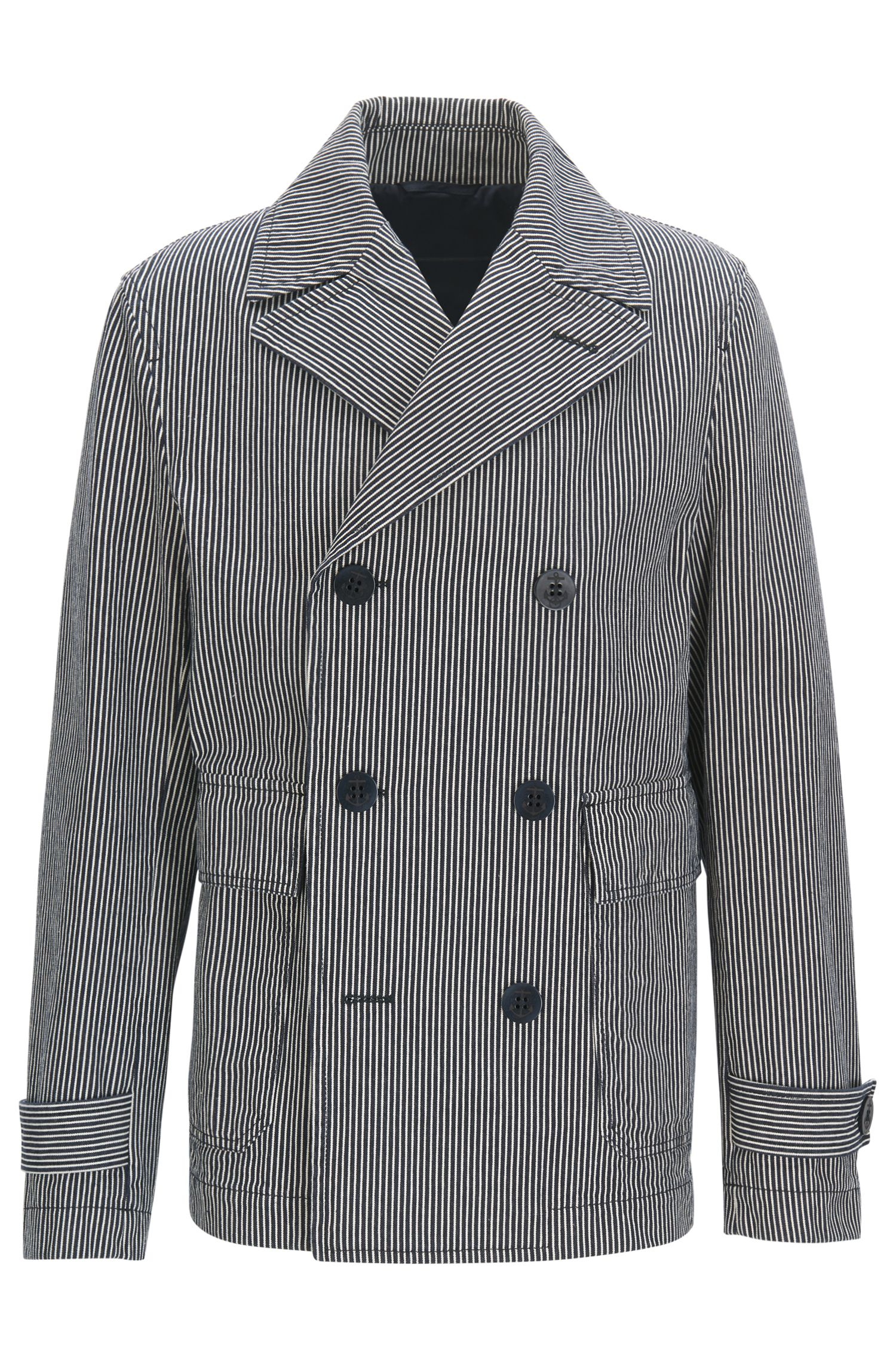 Double-breasted cotton peacoat with washed stripes