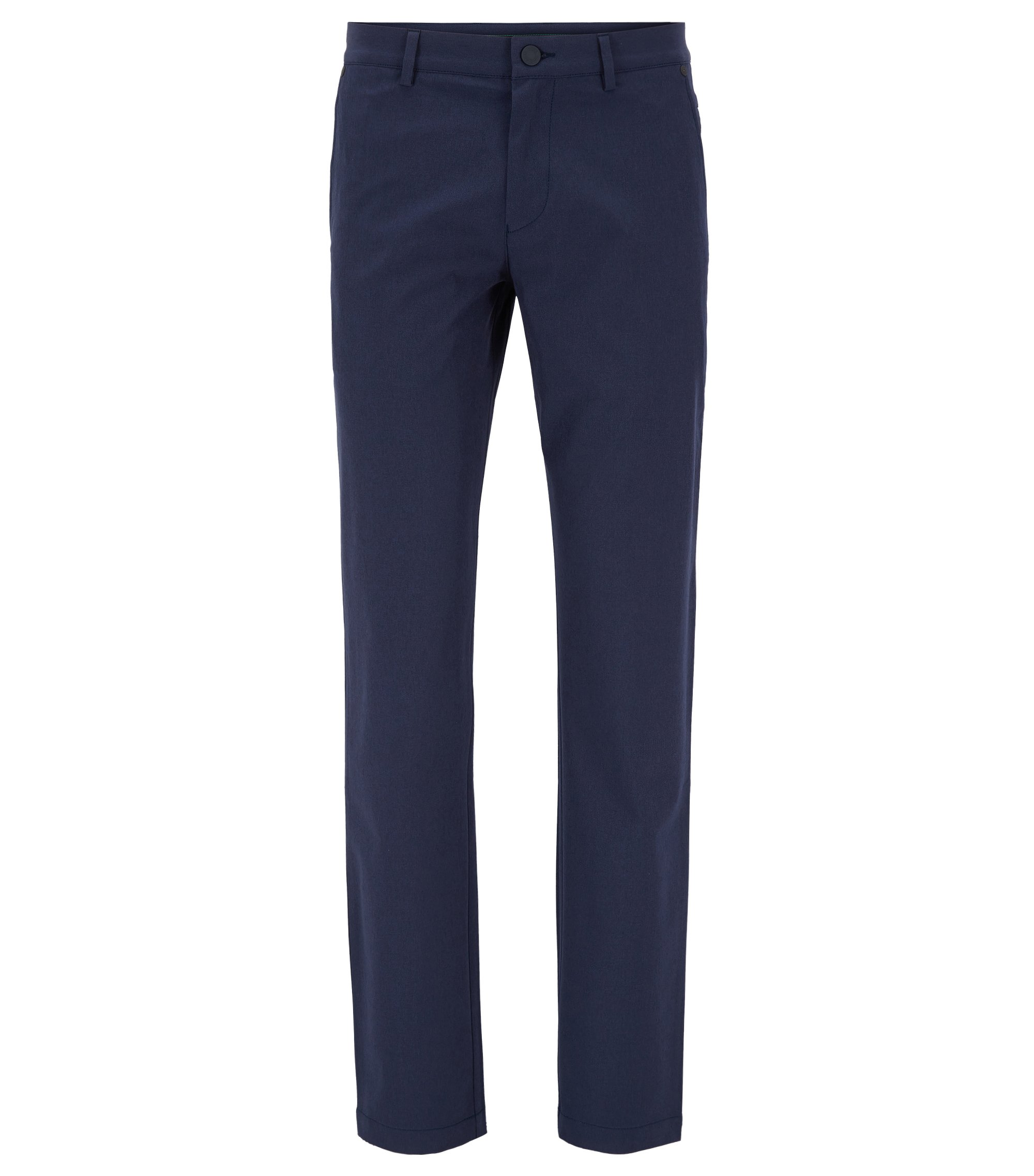 Extra-slim-fit trousers in stretch technical fabric, Dark Blue