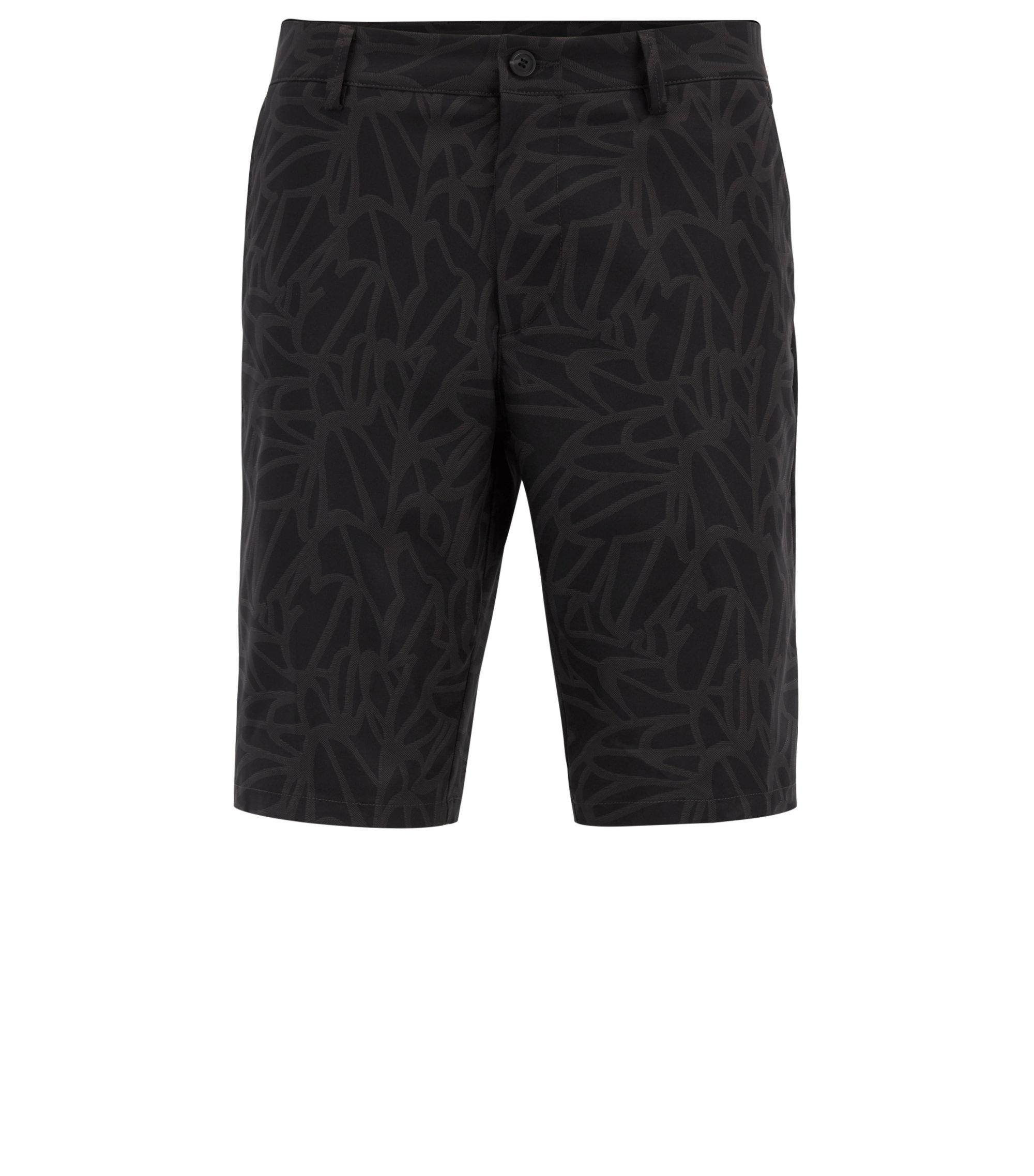 Bedruckte Slim-Fit Shorts aus wasserabweisendem Twill, Schwarz