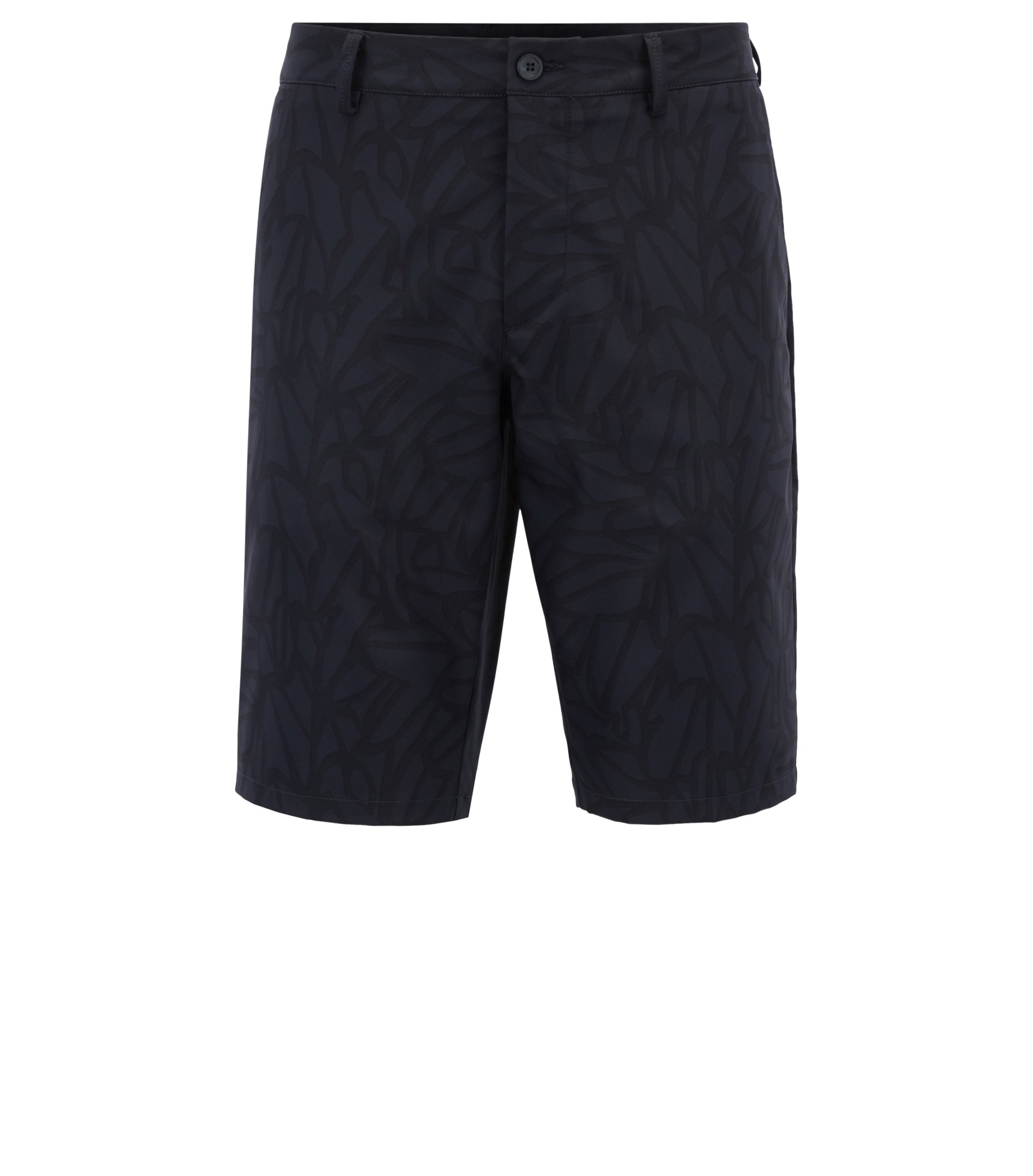 Tailored shorts in water-repellent printed twill, Dark Blue